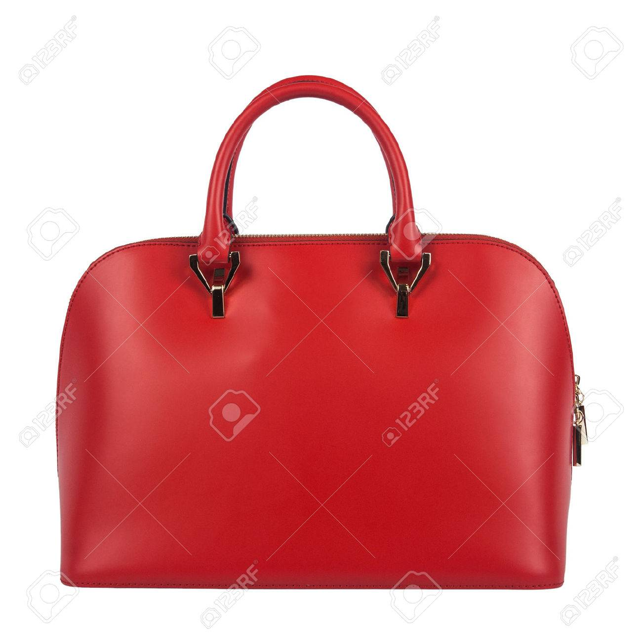 9e0f21737f8ea Red women bag isolated on white background Stock Photo - 45074257