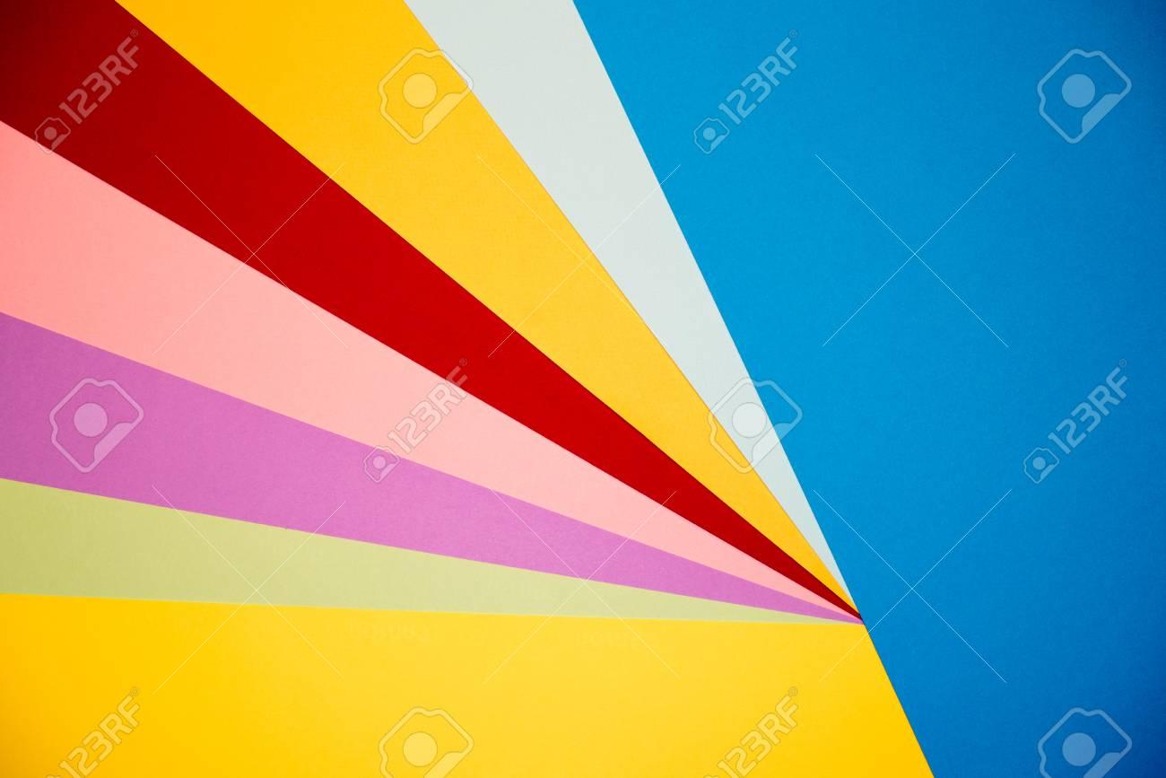 Farbe Papiere Geometrie Flach Zusammensetzung Hintergrund Mit Gelb