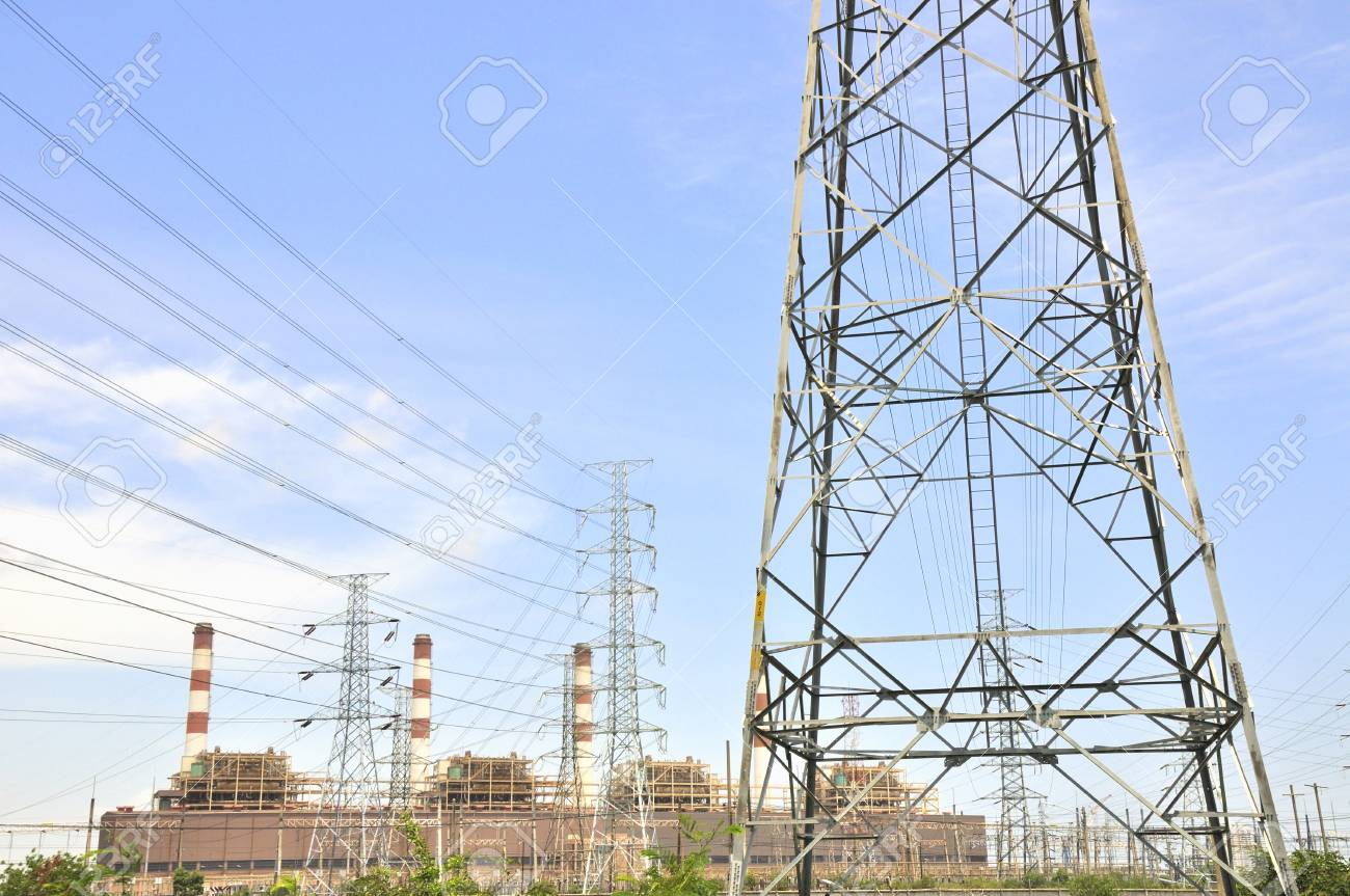 Power plant and high voltage Stock Photo - 16608006