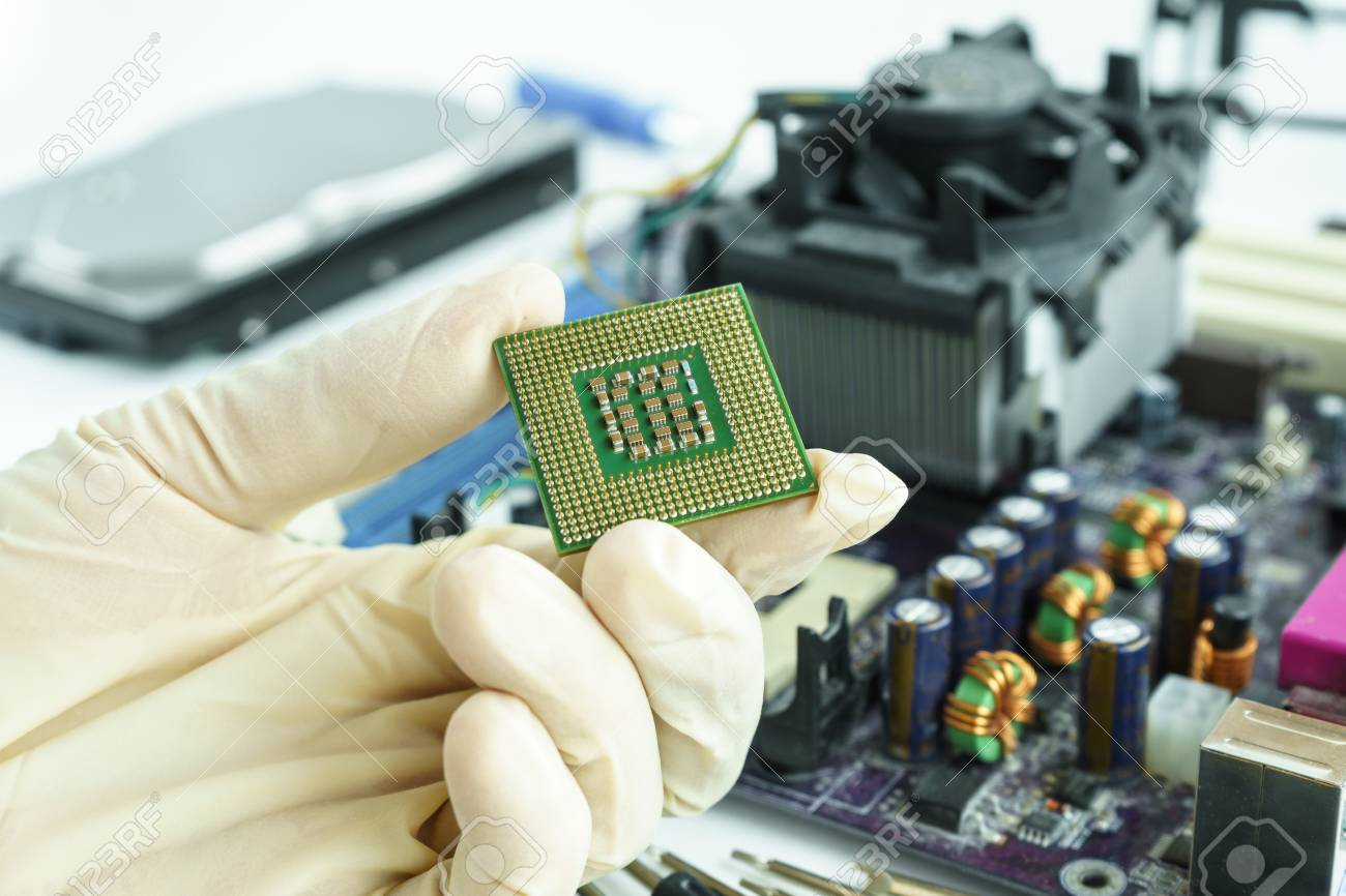 Central Processing Unit (CPU) in hand, check and fix PC hardware