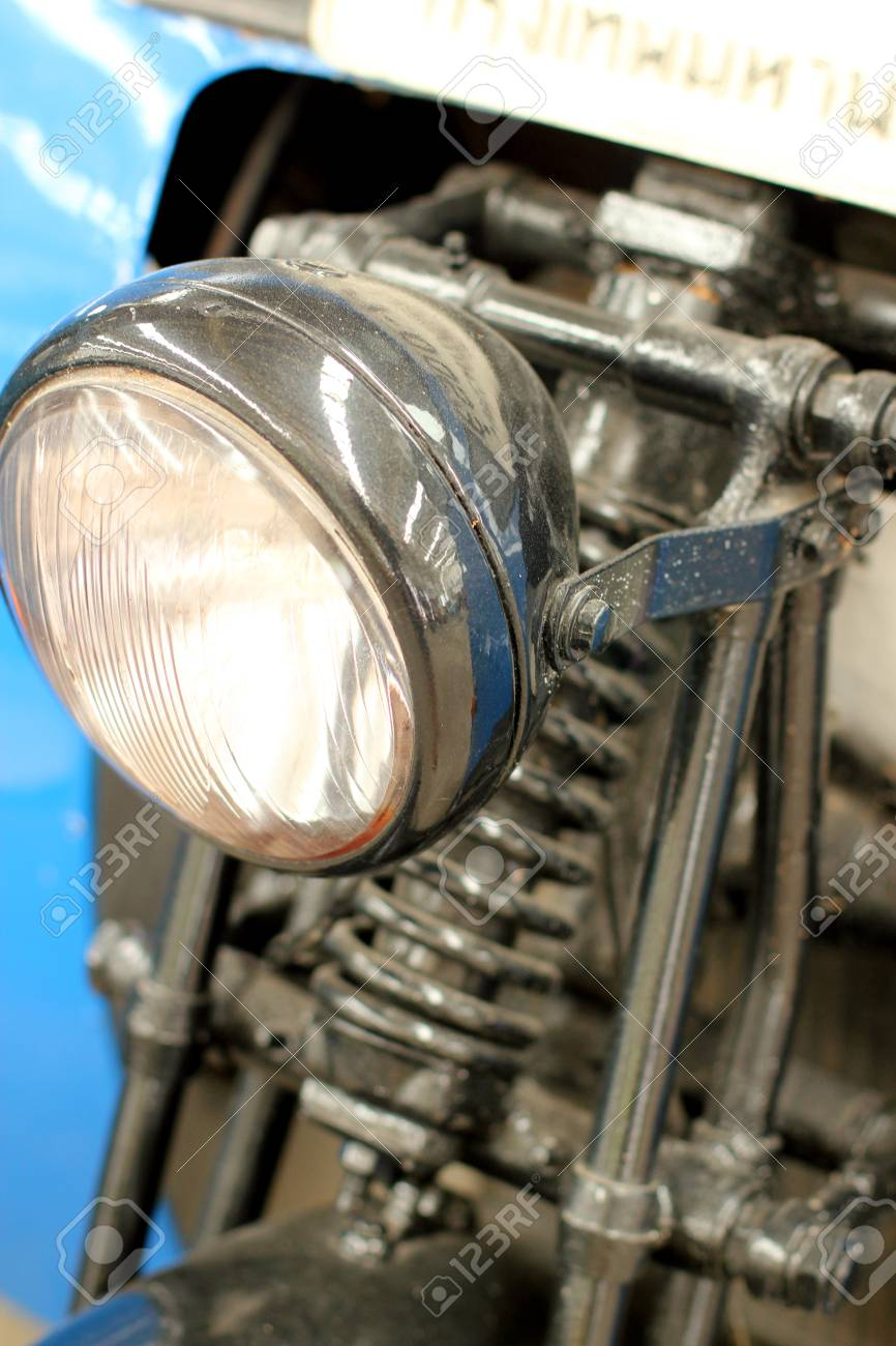 Vintage Motorbike Focus On A Headlamp Retro Motorcycle With