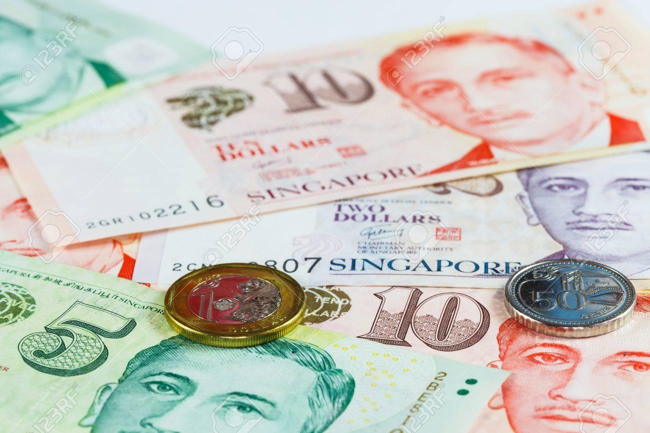 Singapur Dollar Hinweis Und Münzen Lizenzfreie Fotos Bilder Und