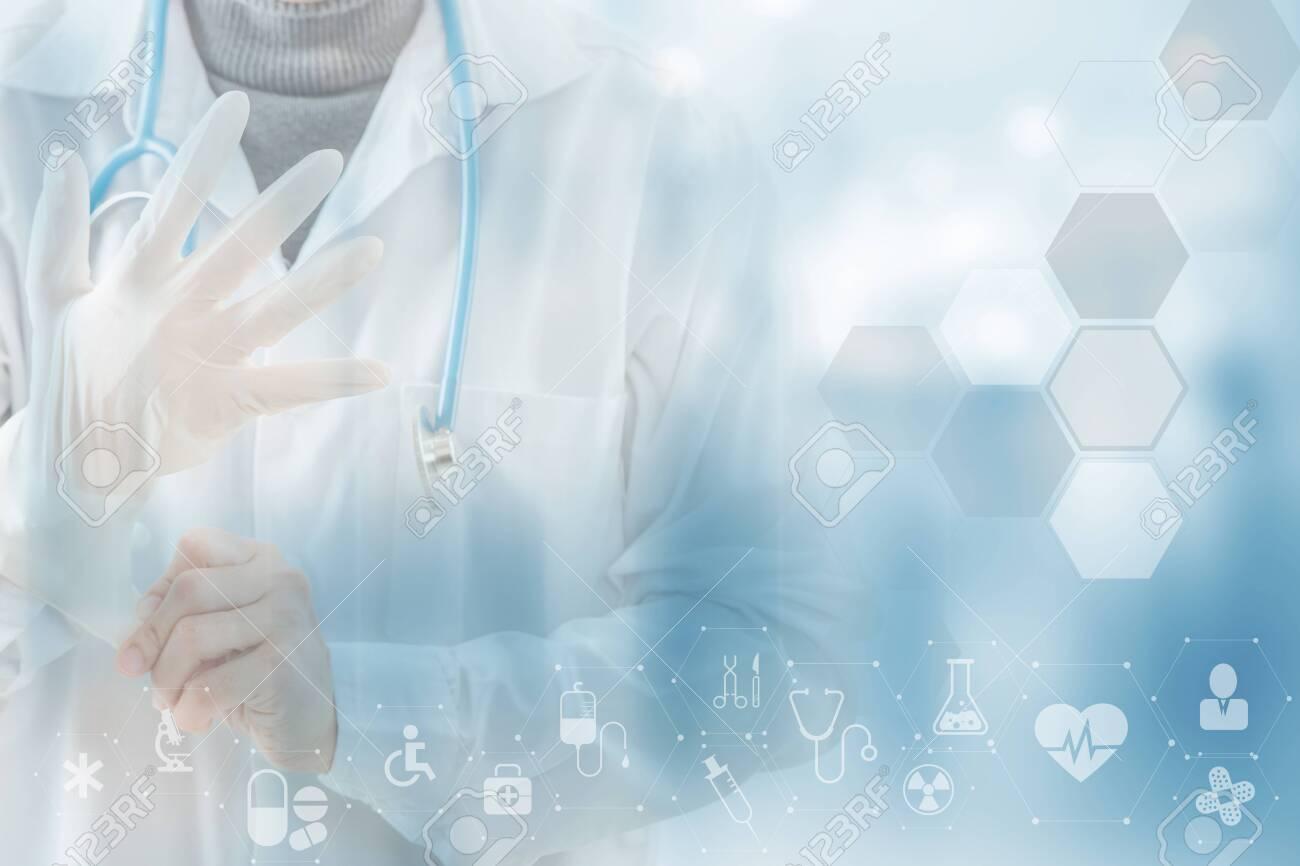Close-up doctor wearing gloves isolated on Health care icon pattern medical innovation concept background design. - 151839573