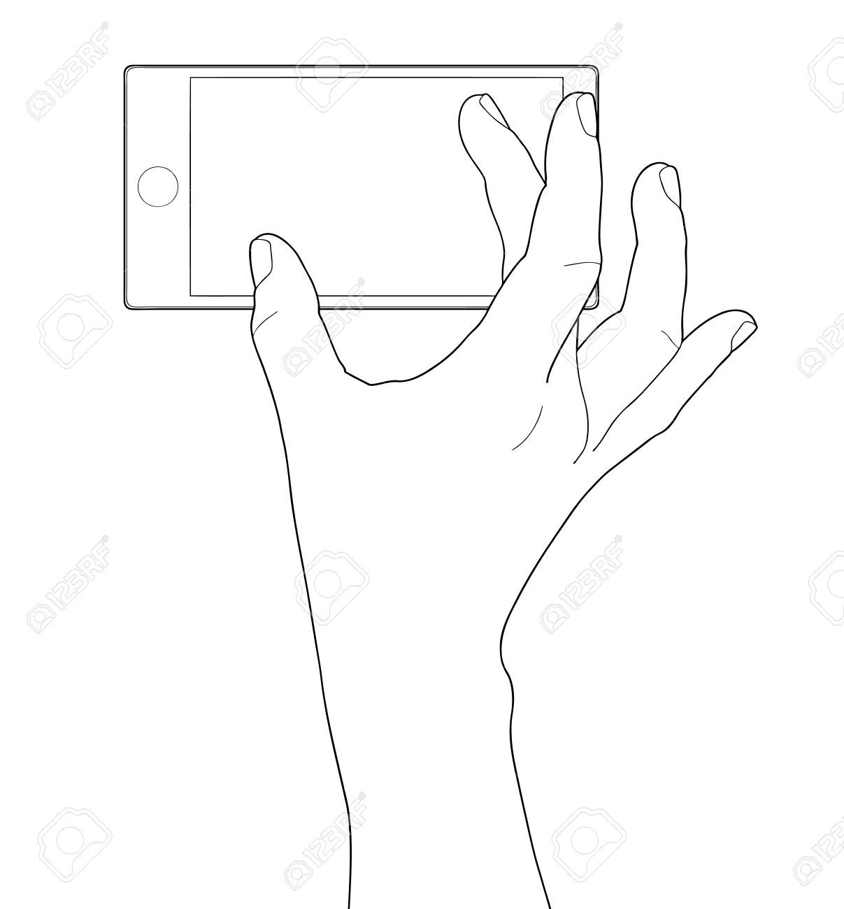 Mobile phone in the hand isolated on white Stock Vector - 19344081