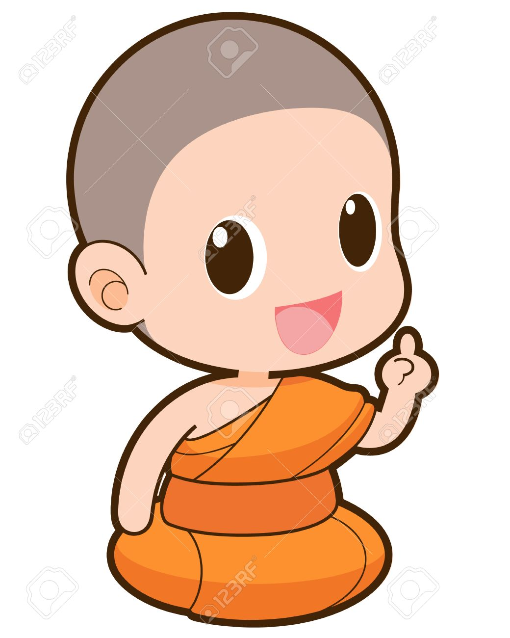 Buddhist Monk Cartoon Illustration Royalty Free Cliparts Vectors