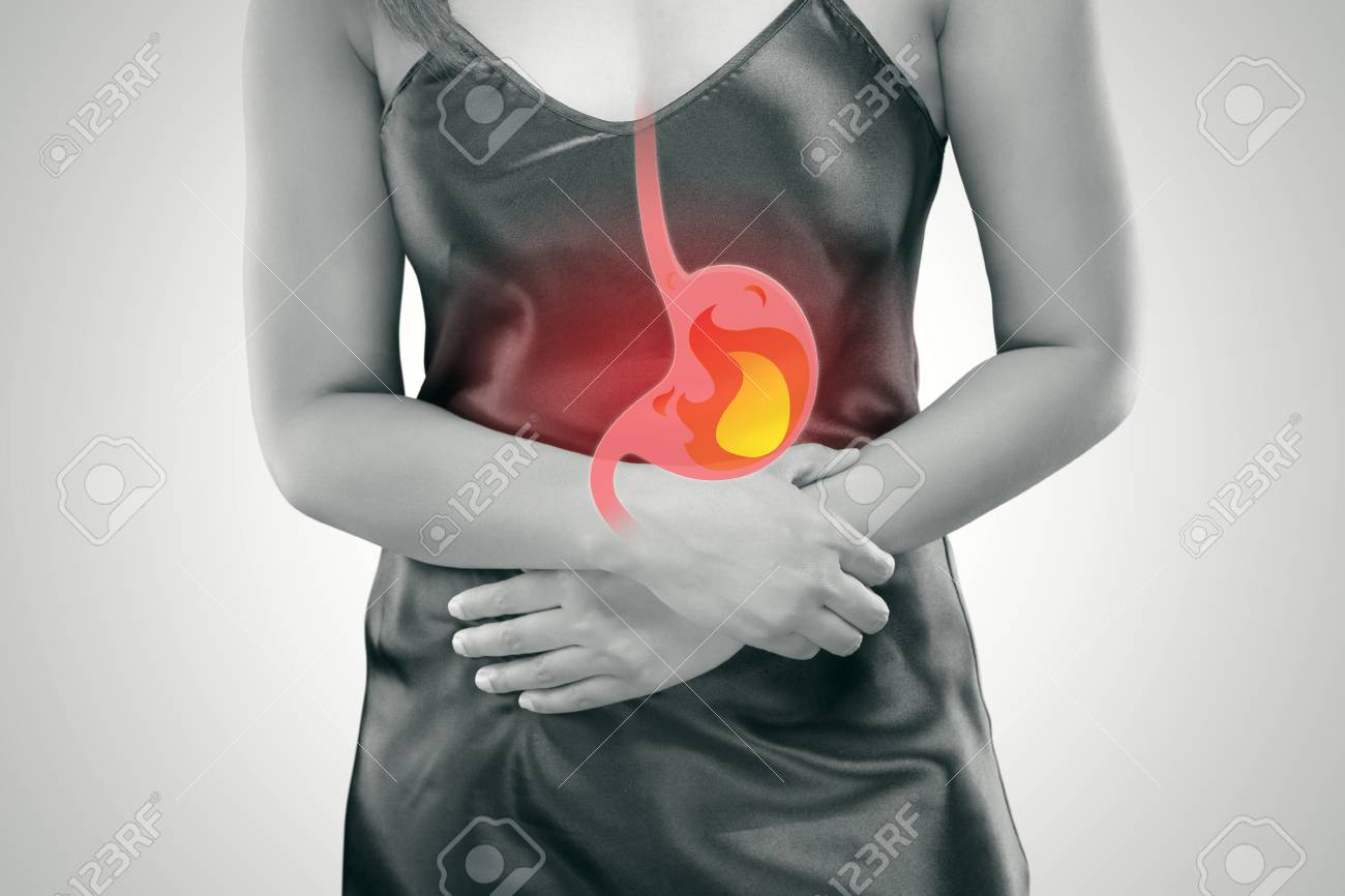 Acid Reflux Or Heartburn The Photo Of Stomach Is On The Womans