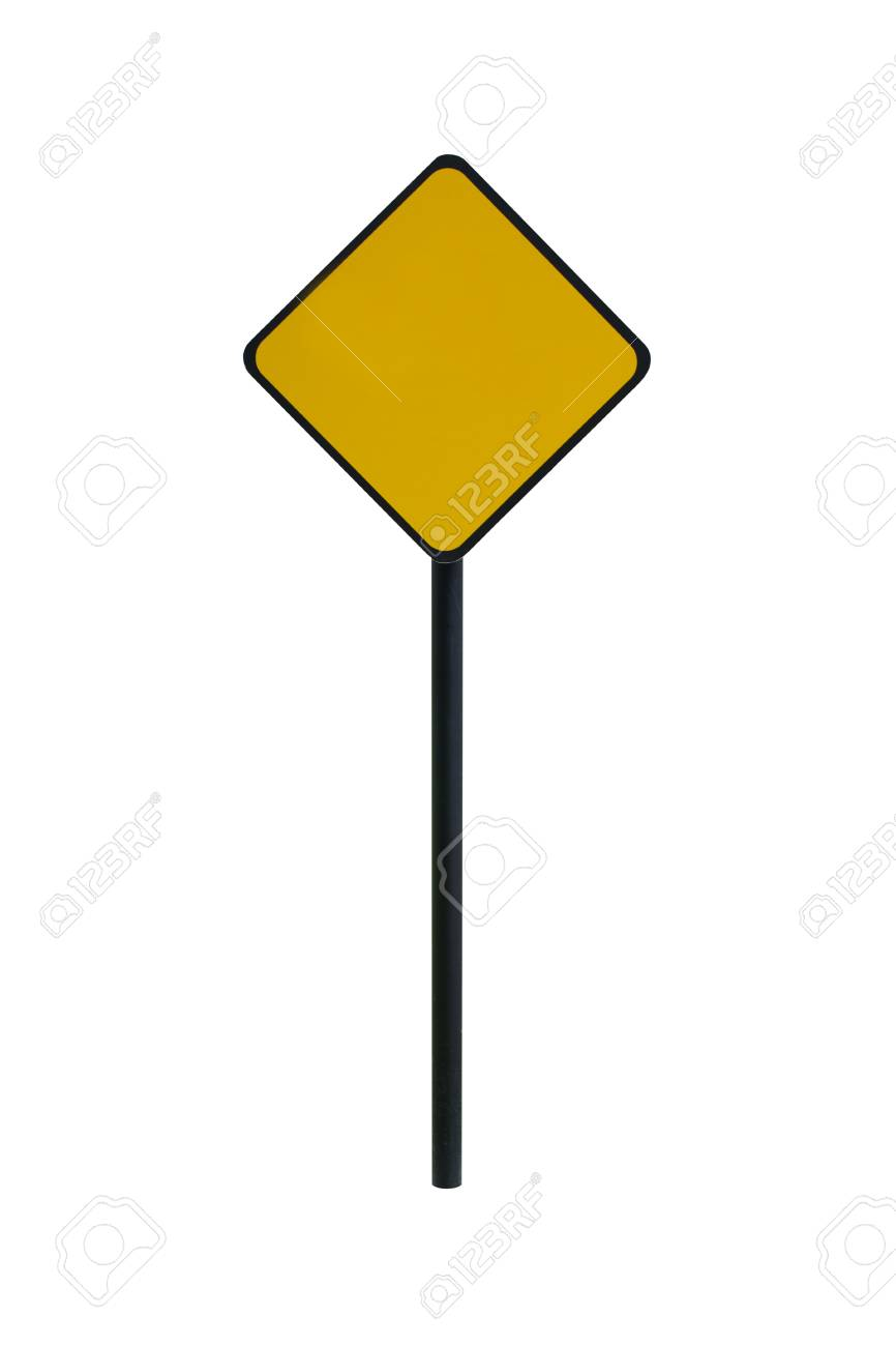 blank yellow road sign template for text with square isolated on