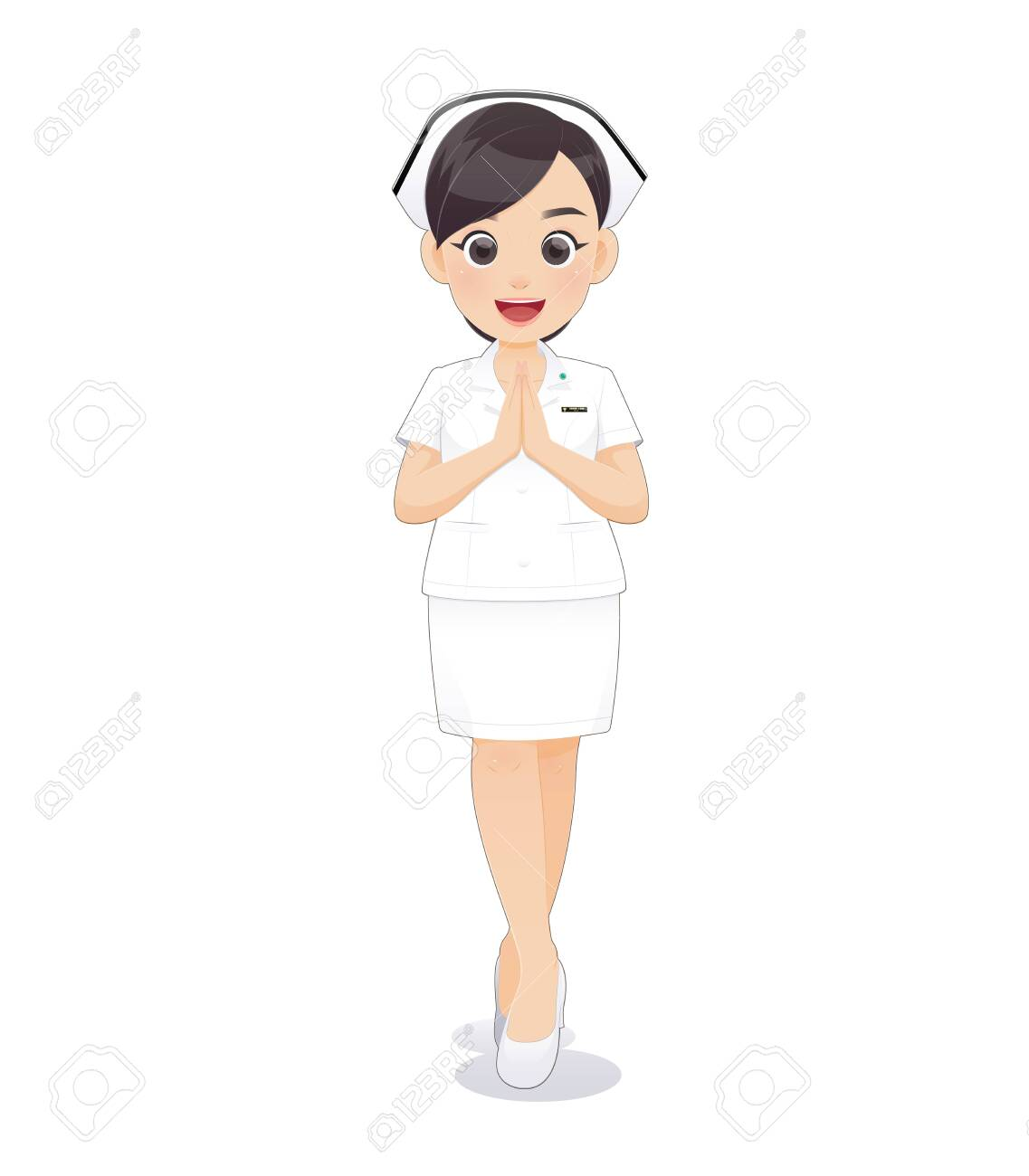 Cartoon Woman Doctor Or Nurse In White Uniform Holding A Clipboard Royalty Free Cliparts Vectors And Stock Illustration Image 124326735