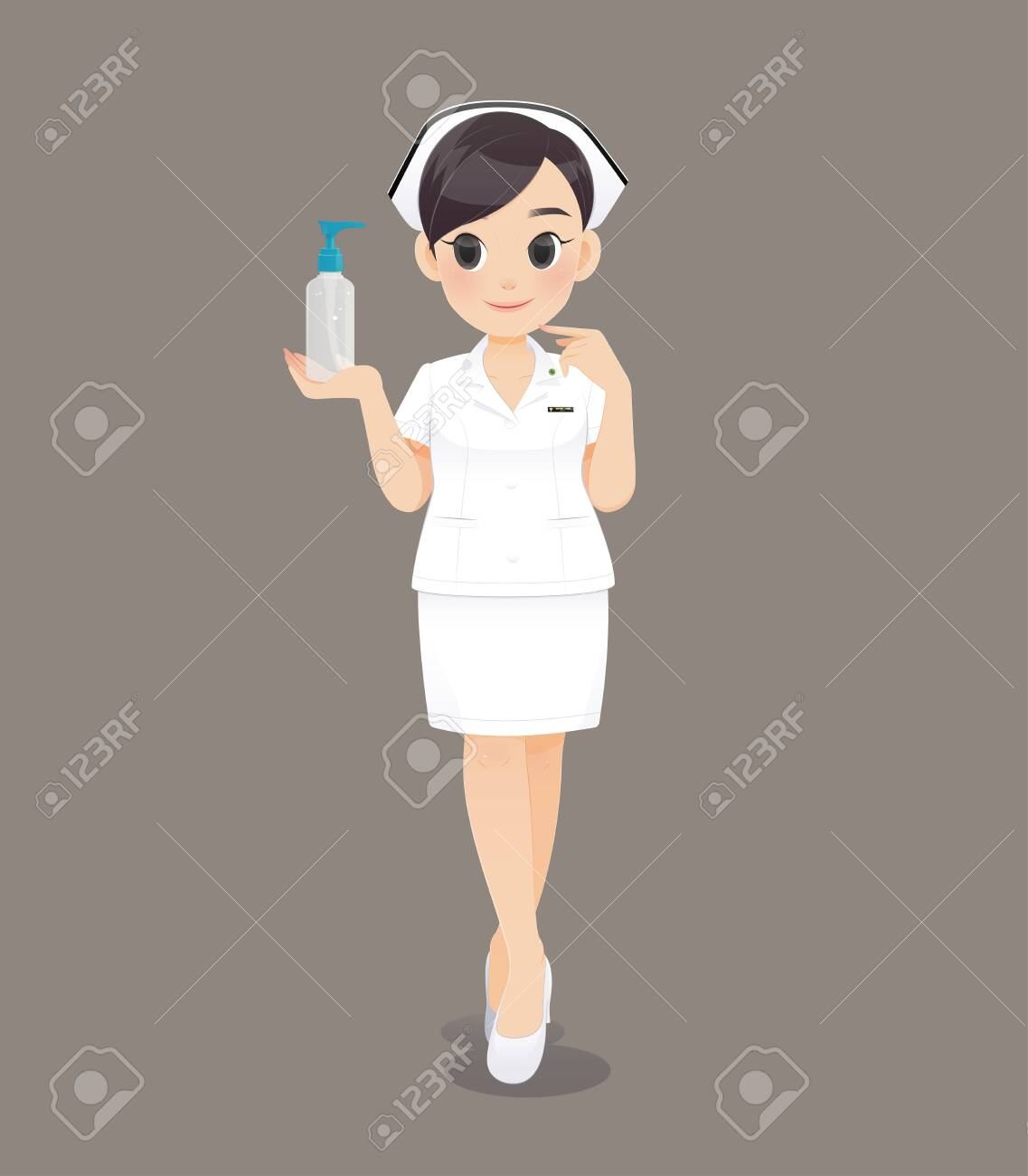 Cartoon woman doctor or nurse in white uniform on brown background, Smiling female nursing staff, Vector illustration in character design - 122571241