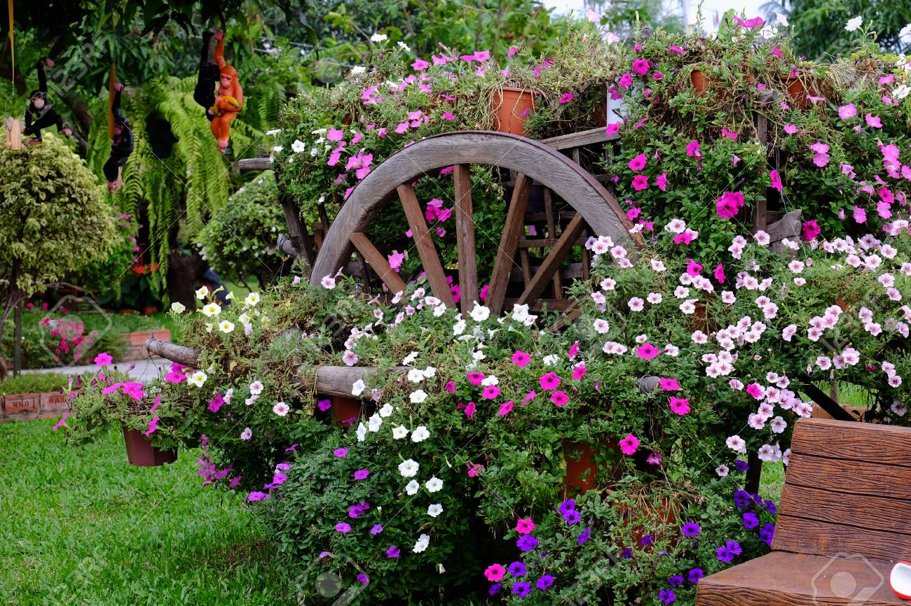 beautiful flower garden full of colorful flowers. keywords language:..