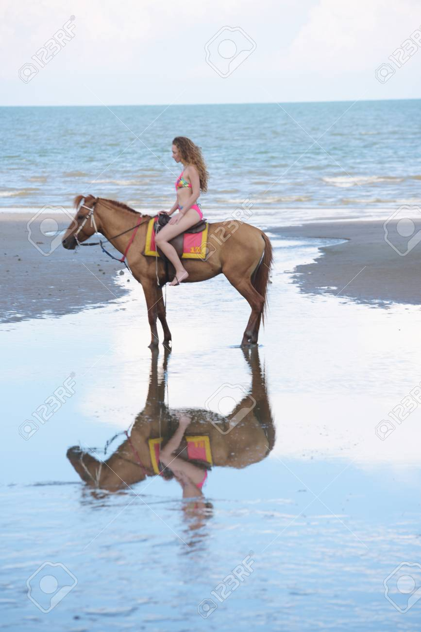Beautiful Woman Model With Beautiful Horse At The Beach In The Stock Photo Picture And Royalty Free Image Image 102952959