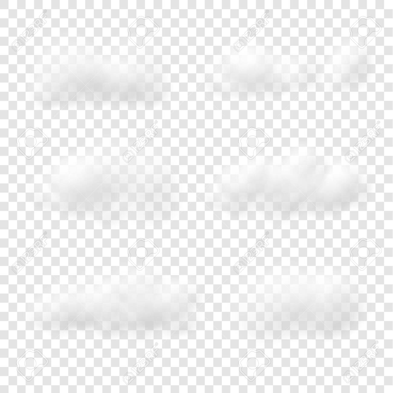 Realistic white cloud vectors isolated on transparent background, Fluffy cubes like white cotton wool - 138448427