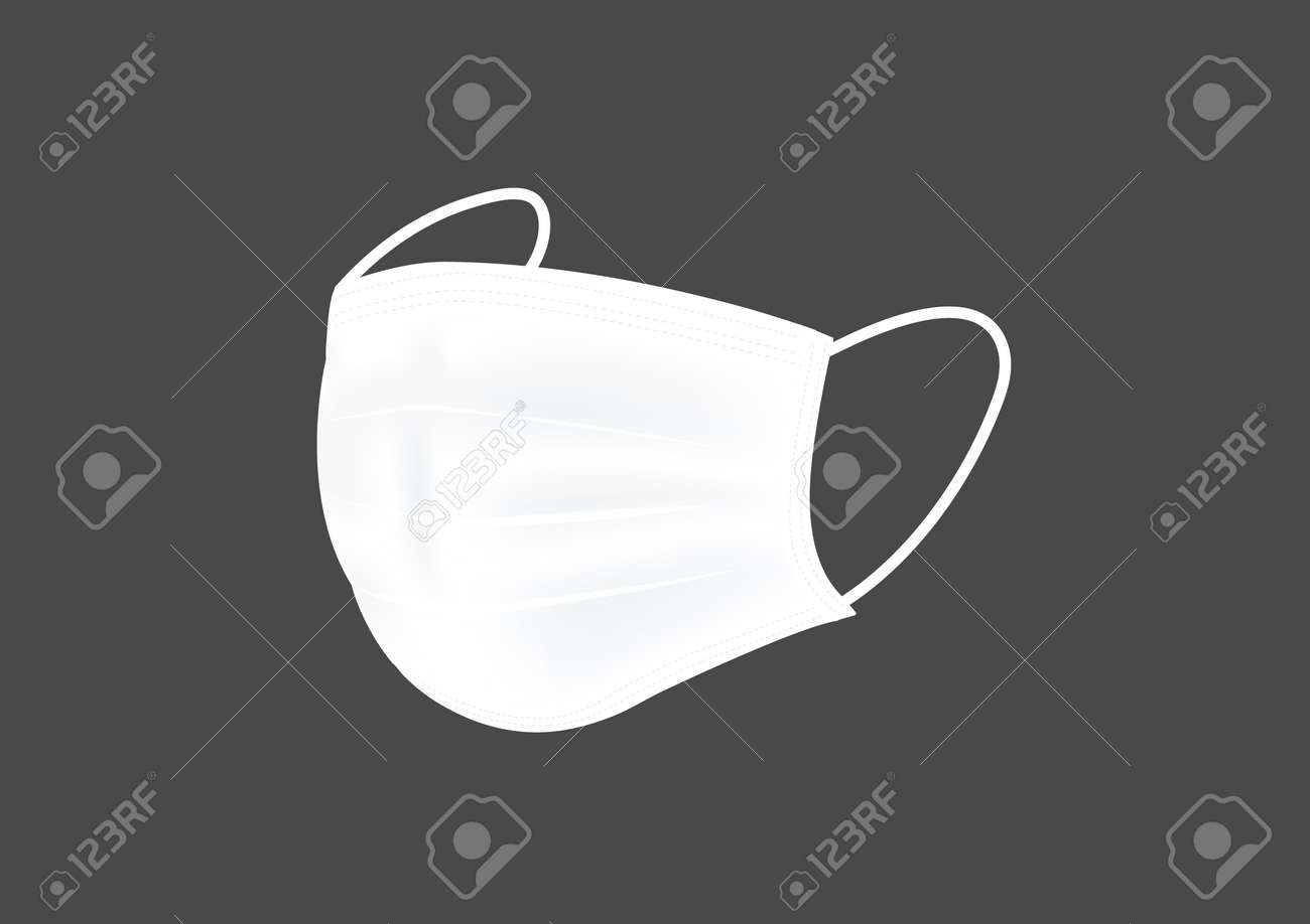 realistic hygienic white mask vectors for corona virus filter isolated on dark background ep08 - 159989947