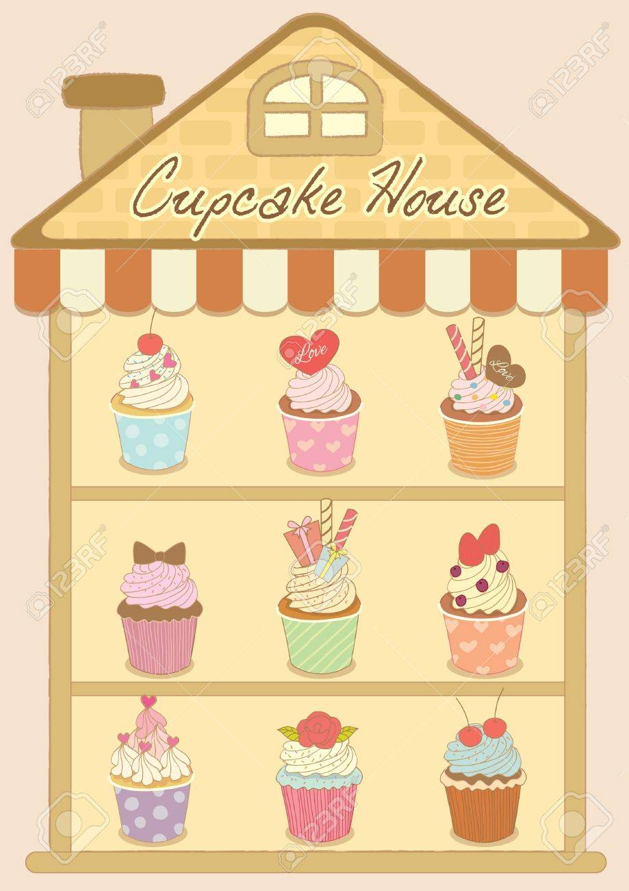 Vector Drawing Cupcakes In The Cupcake House.Dessert So Sweet ...
