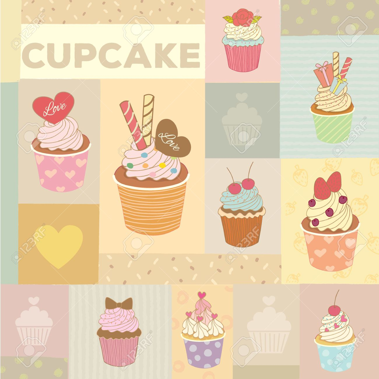 Vector Drawing Cupcakes Menu For Bakery Cafe.Vintage Theme And ...