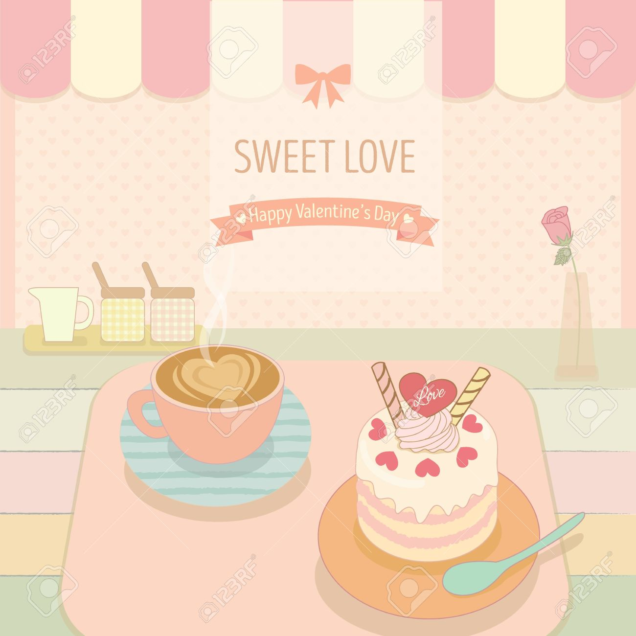 cake and coffee in the bakery cafe shop cute theme and pastel