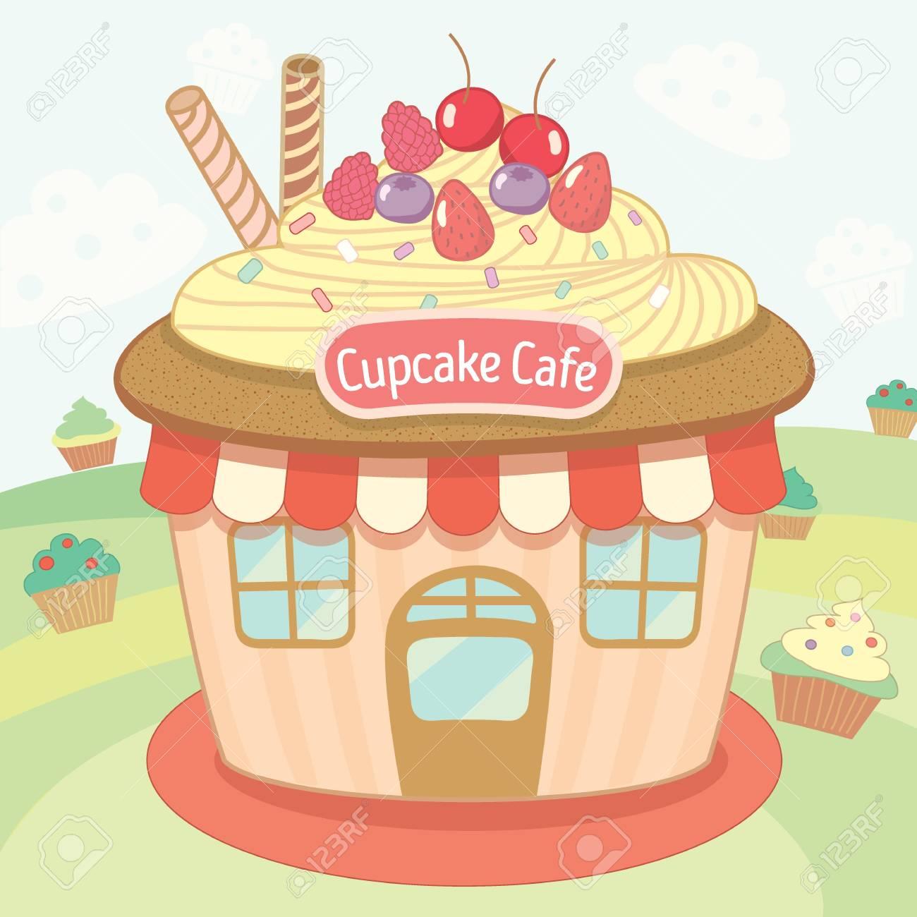 Vector Cute Der Kuchenhaus Cafe Lizenzfrei Nutzbare Vektorgrafiken