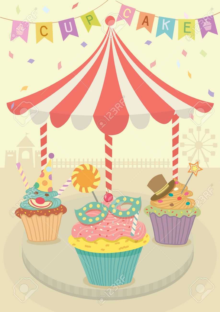 Vector Fancy Cupcakes Decoration With Merry Go Round On Carnival Party Theme BackgroundPastel And