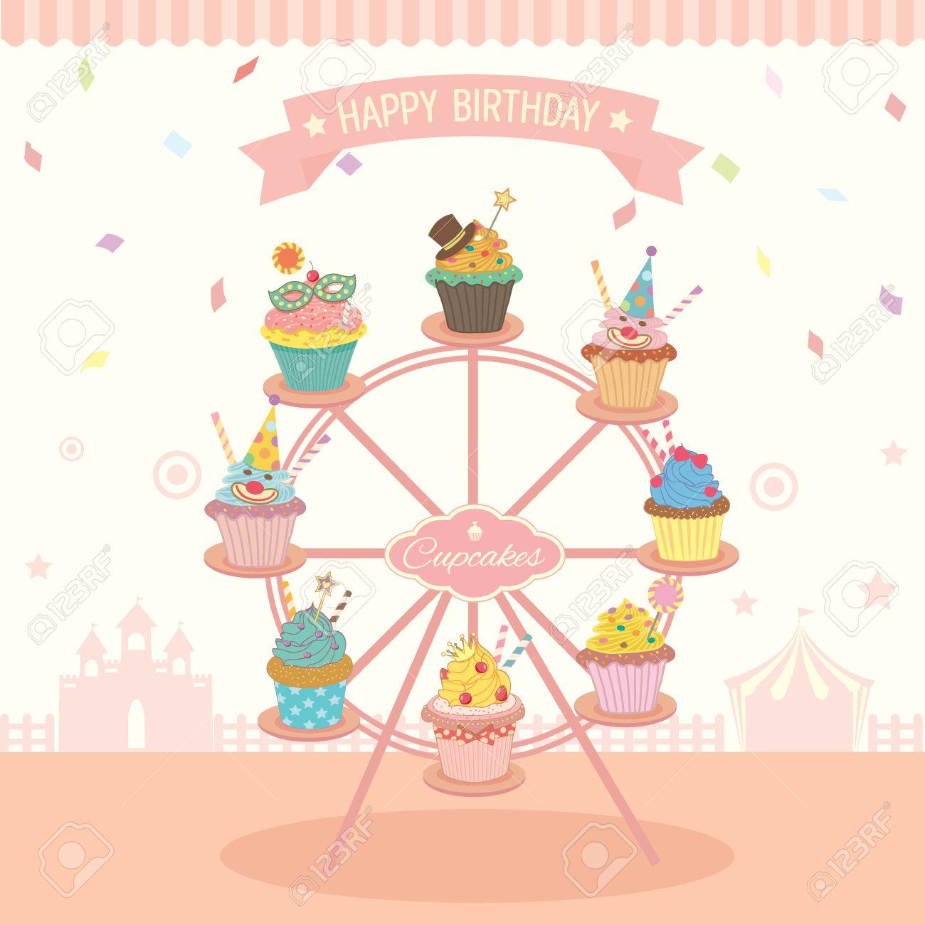 ベクトル ファンタジー カップケーキ デコレーション誕生日パーティー祭