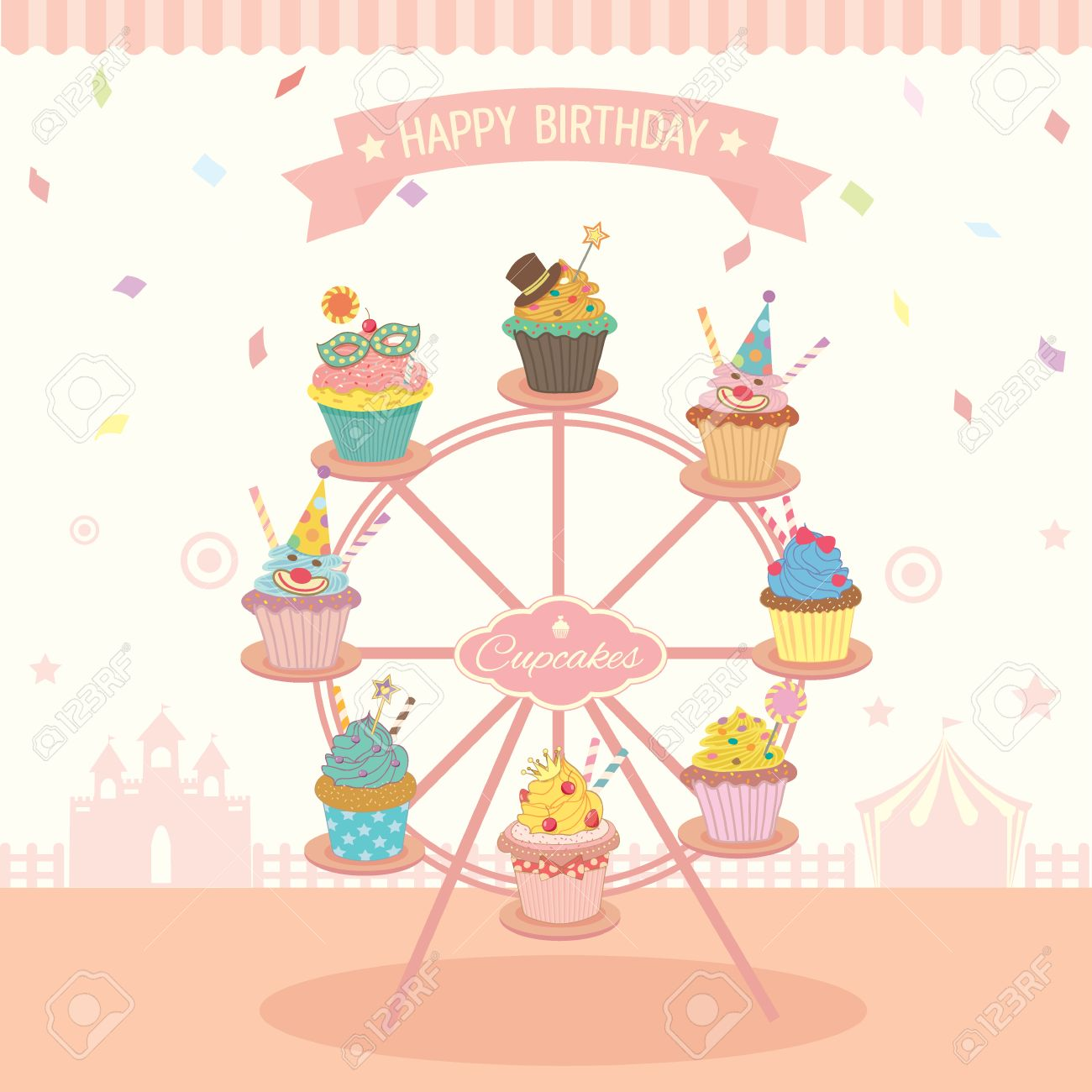 vector fantasy cupcakes decoration on the ferris wheel for birthday