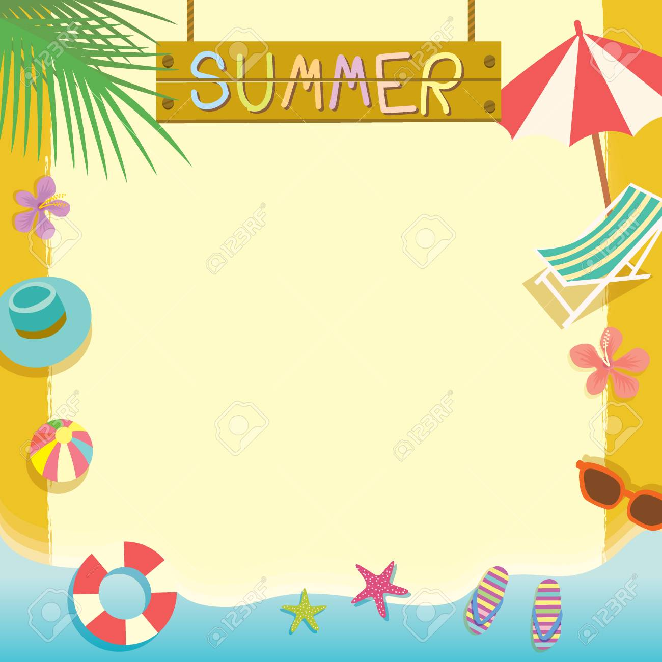 Summer Beach Holiday Concept Vector Templatetepad Memoposter