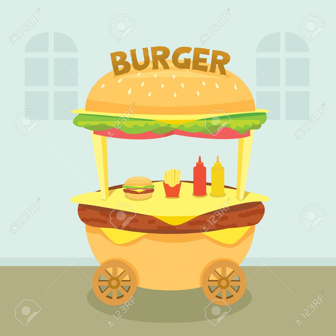 Illustration vector of hamburger cart shop for sale decoration with burger  sign on street food Design for kiosk,booth,store,retail Pastel background