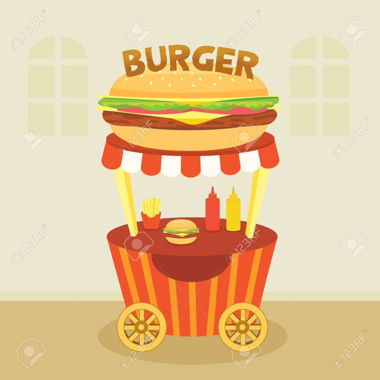 Illustration vector of hamburger cart shop for sale decoration