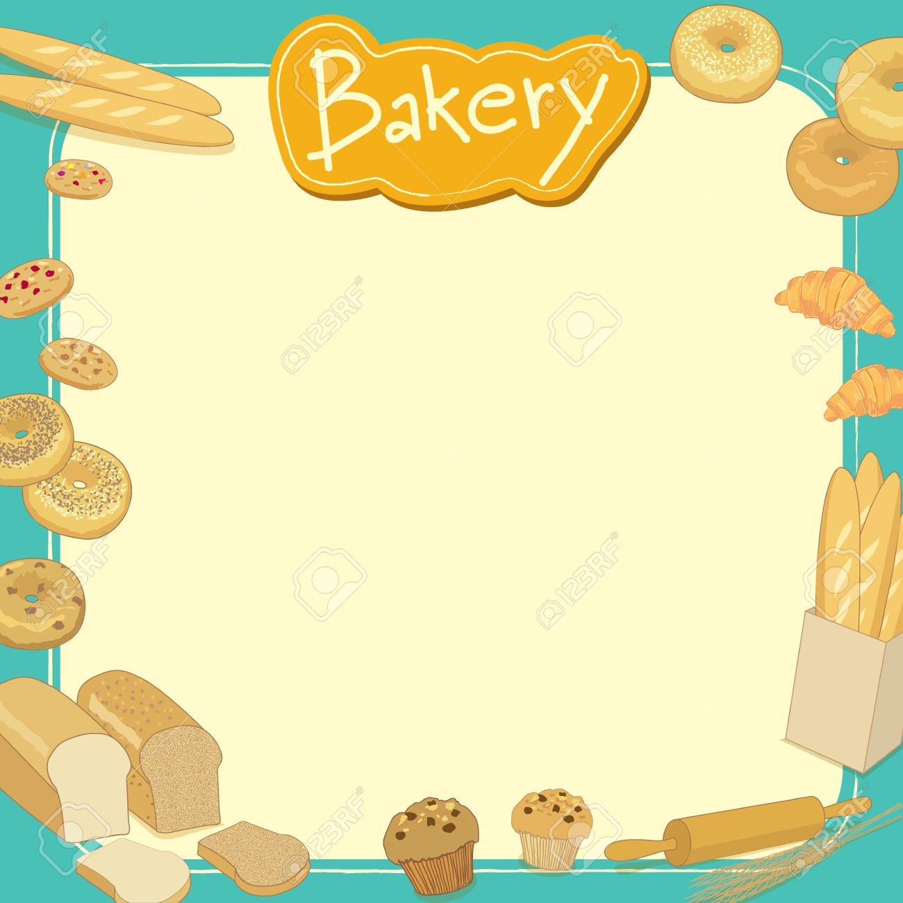 menu template design vector illustration bakery cafe shop empty