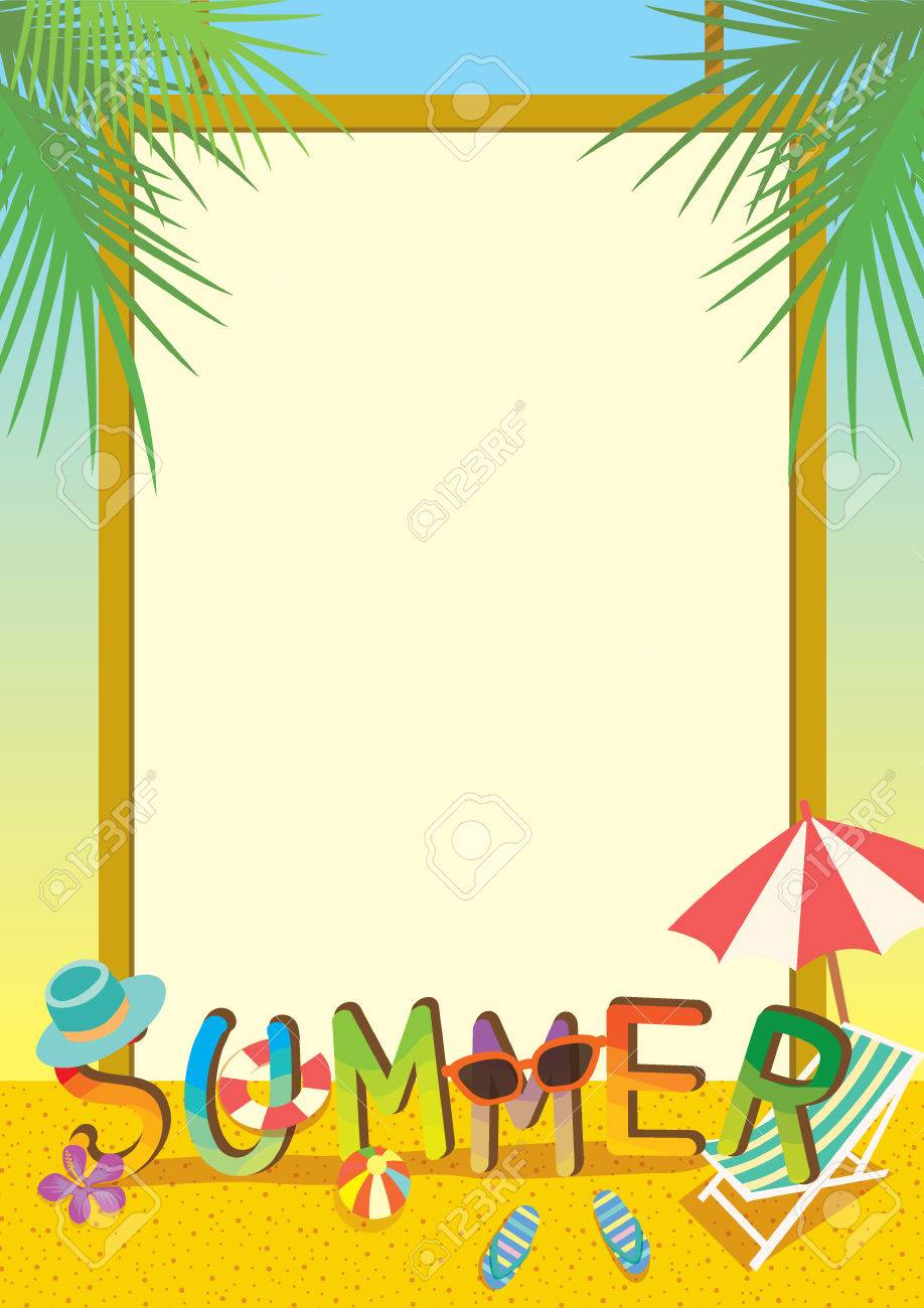 summer illustration template colorful design with border and