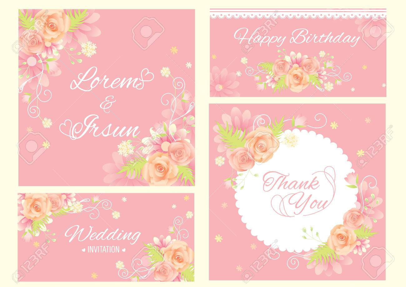 Flower template sweet card design vector for invitation thank flower template sweet card design vector for invitation thank you card happy birthday card izmirmasajfo