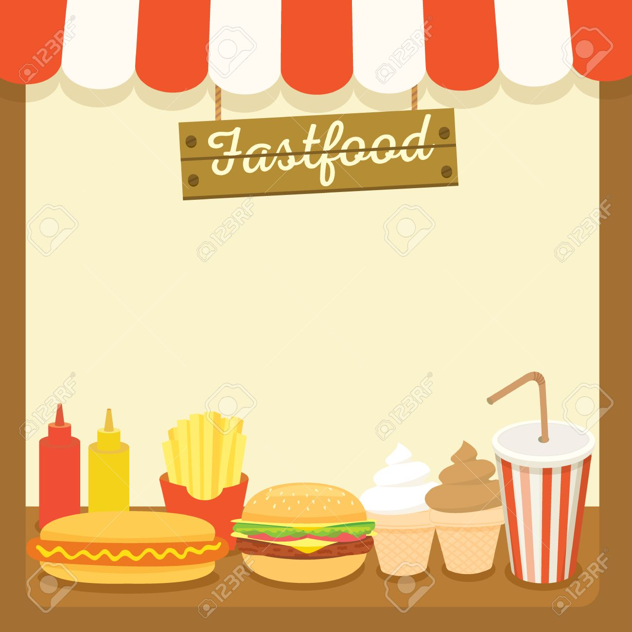 illustration vector of fastfood drink and dessert menu template