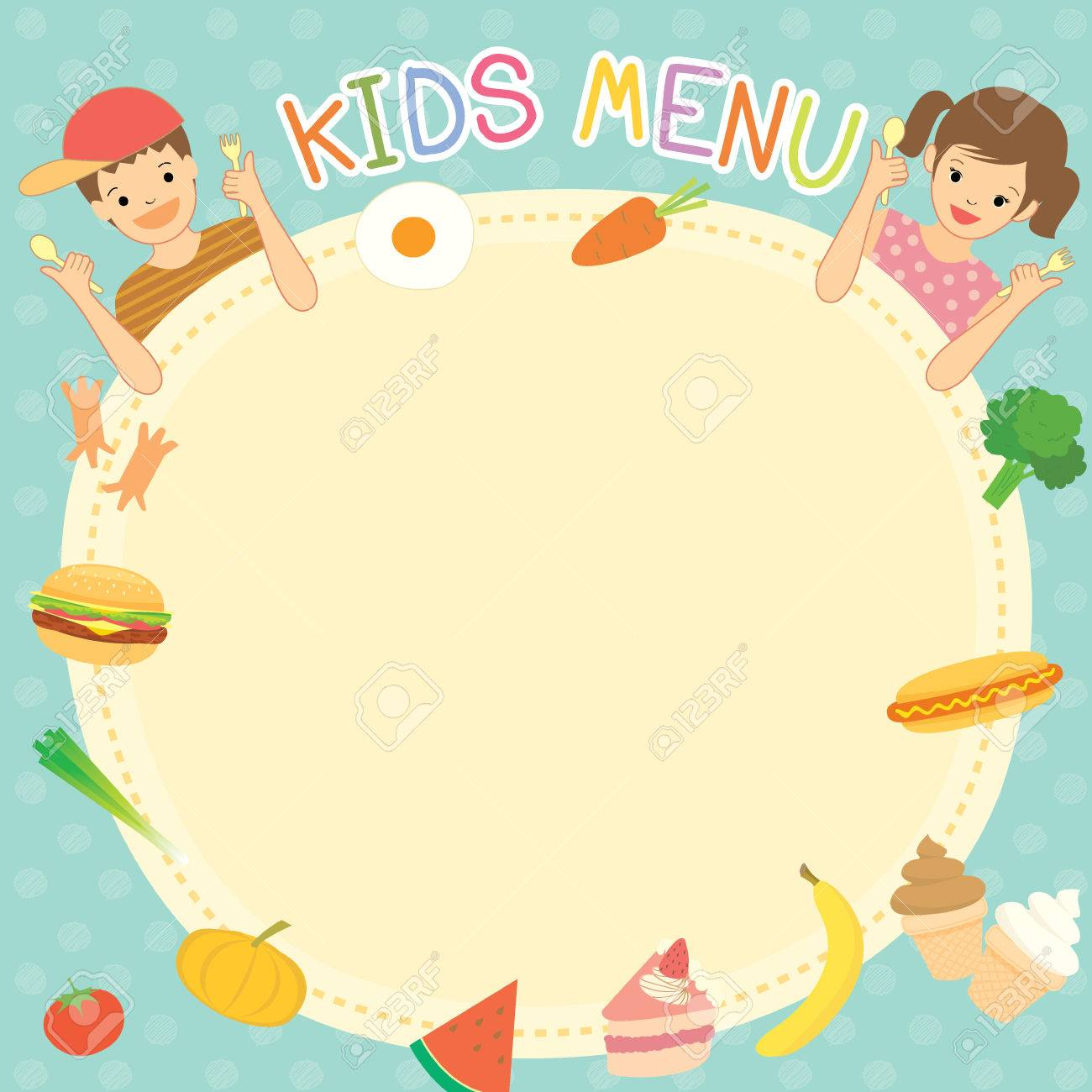 Boy And Girl Was Eating For Kids Menu Template Board Decoration