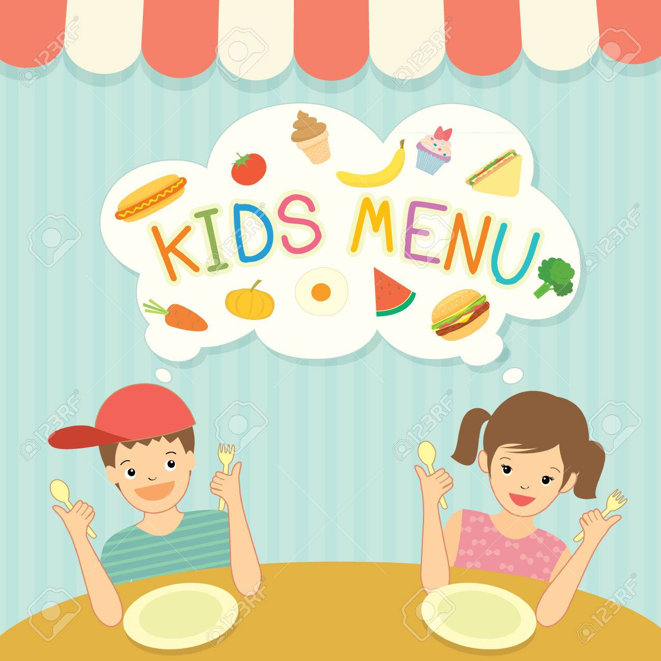 Boy and girl was eating for kids menu template board decoration boy and girl was eating for kids menu template board decoration with ingredient food meal and pronofoot35fo Images