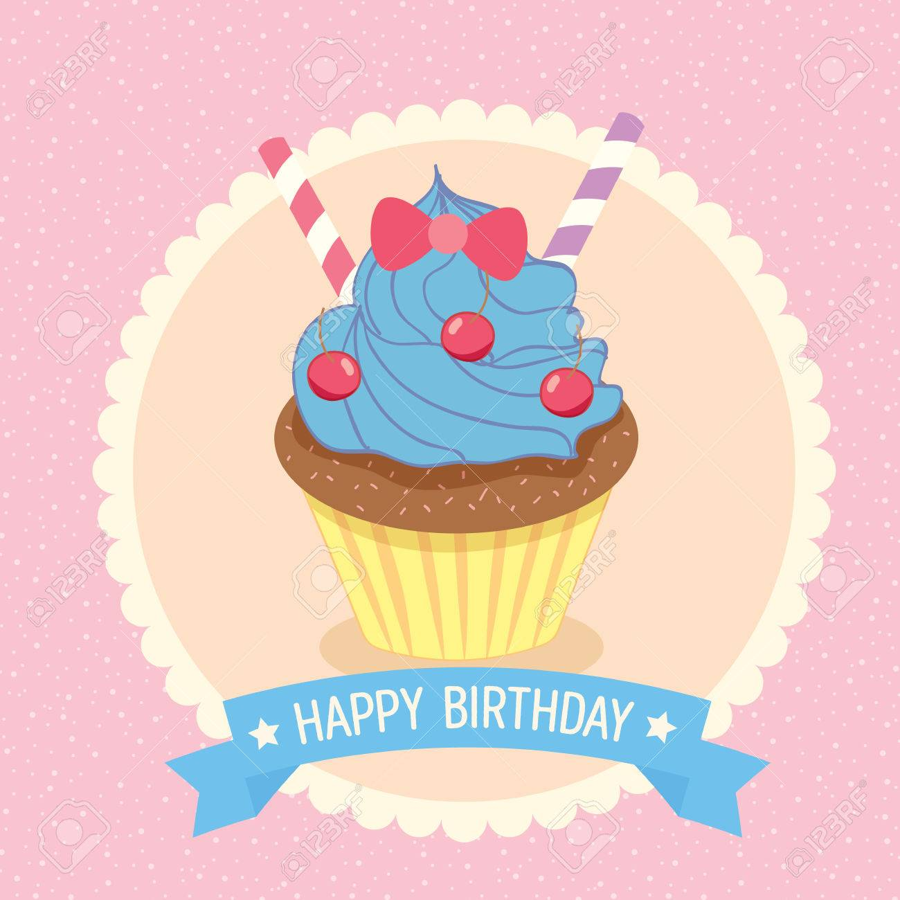 Illustration Fantasy Cupcake On Pink Background With Blue Ribbon ...