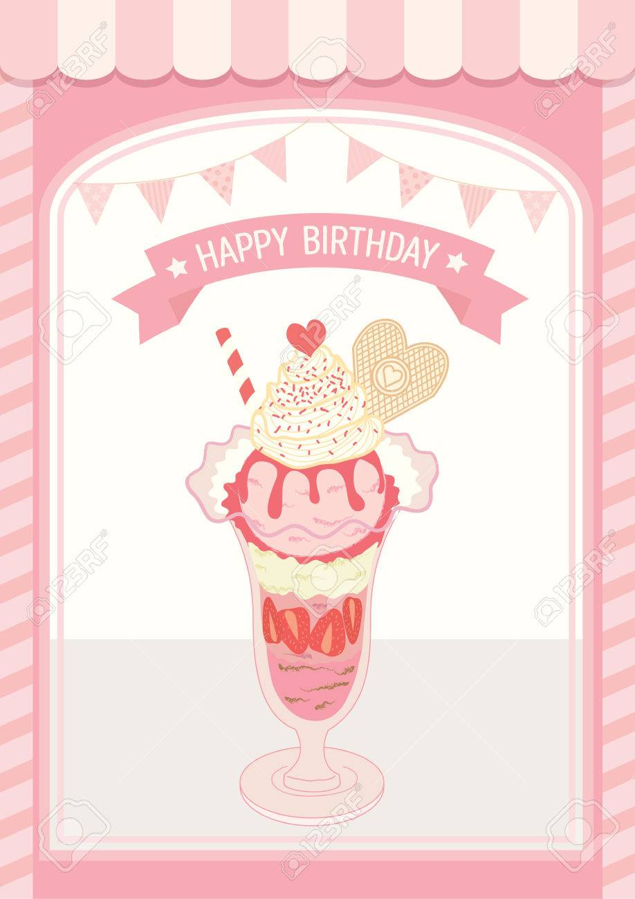 Illustration Decoration Ice Cream Lover For Happy Birthday Card Pastel Pink Colors Background