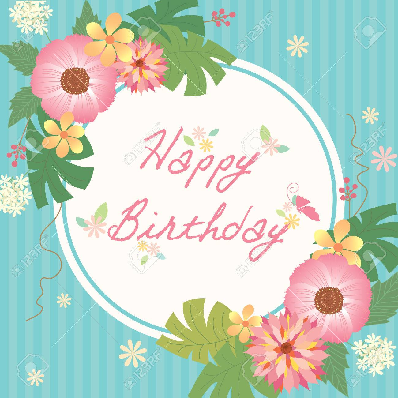 Various Of Flowers Decoration With Border Frame For Happy Birthday Card On Aqua Blue Stripe