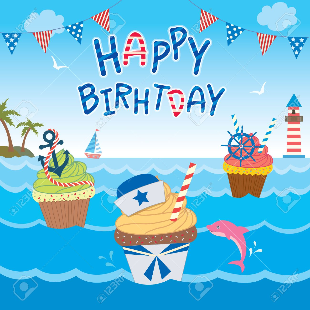 Incredible Illustration Sailor Cupcakes Design In Ocean Background For Happy Funny Birthday Cards Online Barepcheapnameinfo