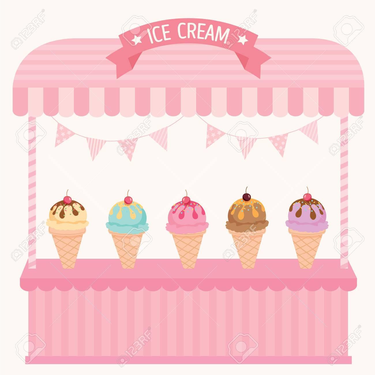 イラスト ソフト クリーム カフェはピンクのパステル カラーの背景を