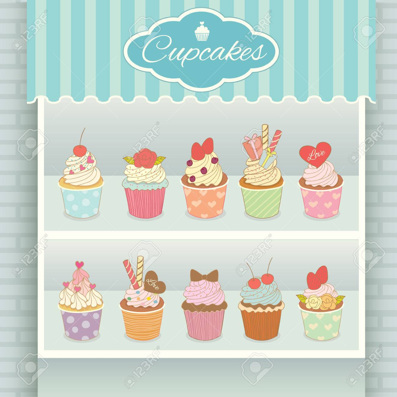 illustration vector various cupcakes menu display on shelf in