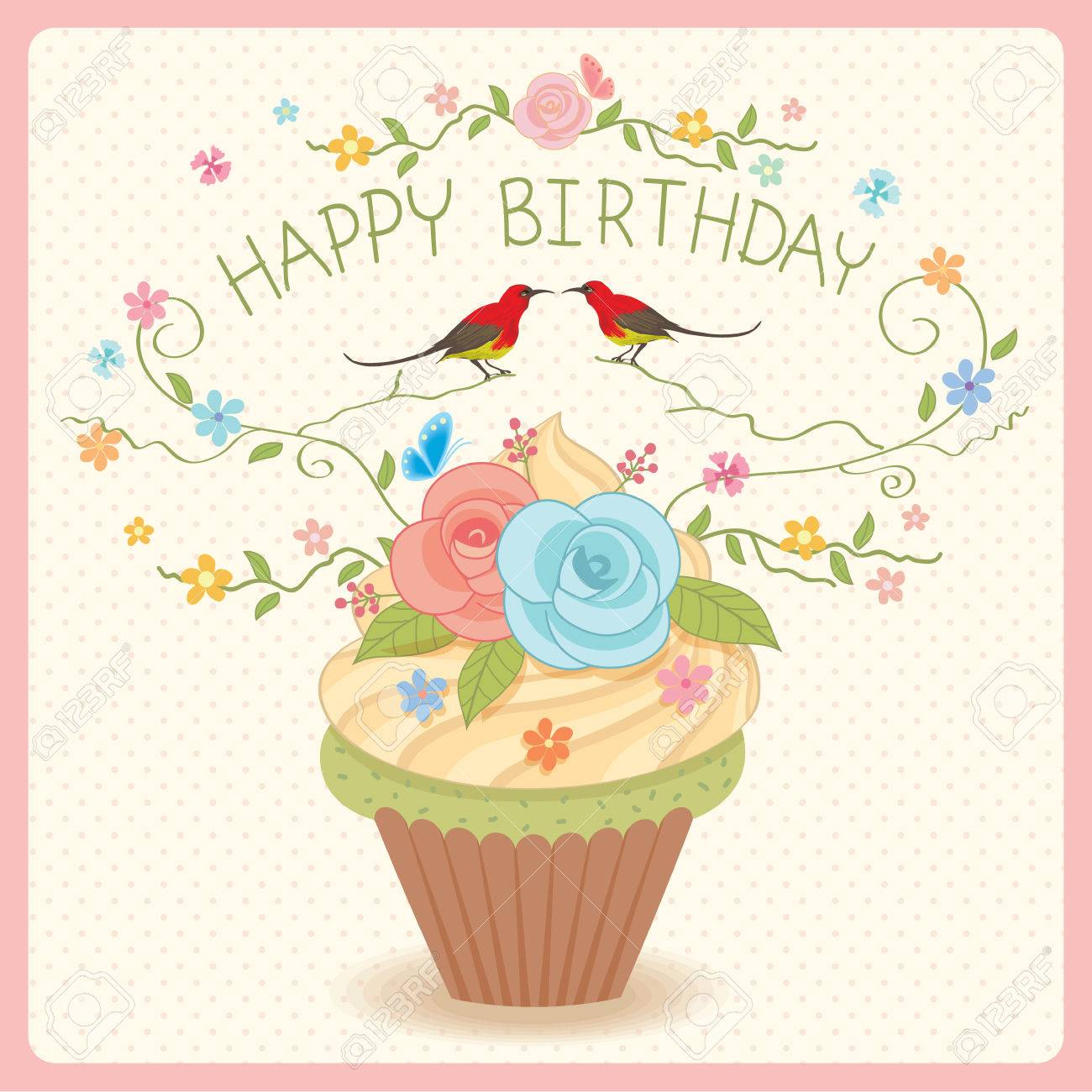 Sweet Vector Cupcake Decoration With Flowers And Couple Birds For Happy Birthday Card Stock