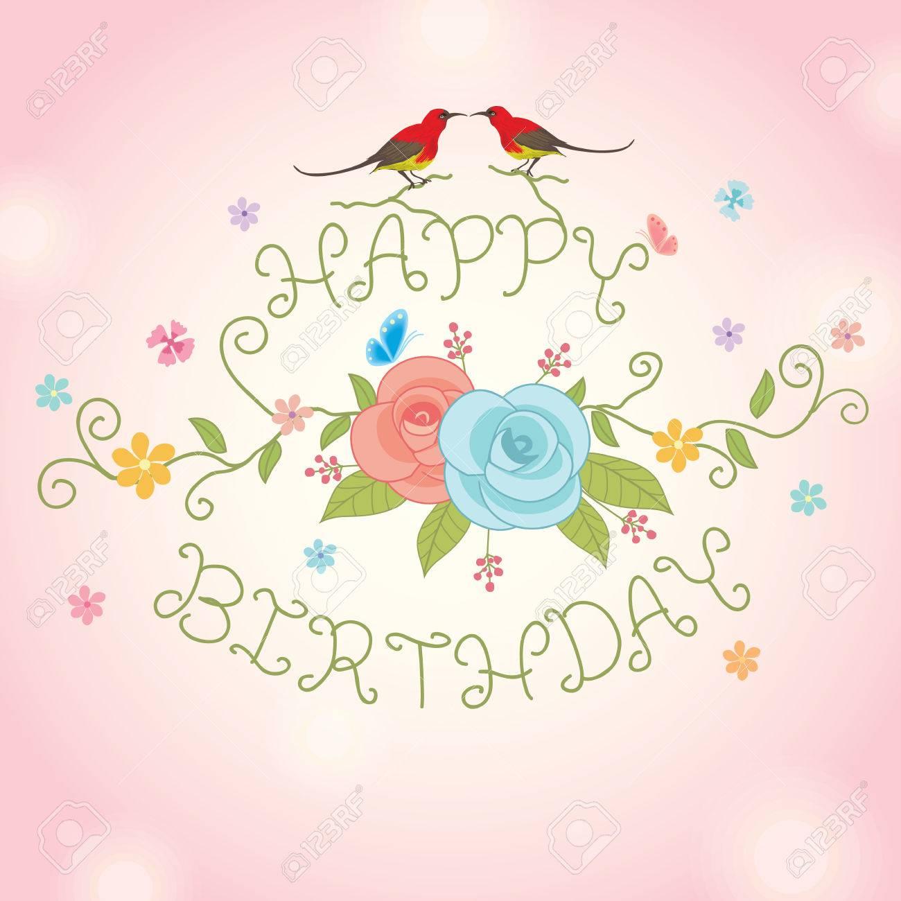 Blumen Und Ein Paar Vogel Dekoration Mit Alles Gute Zum Geburtstag