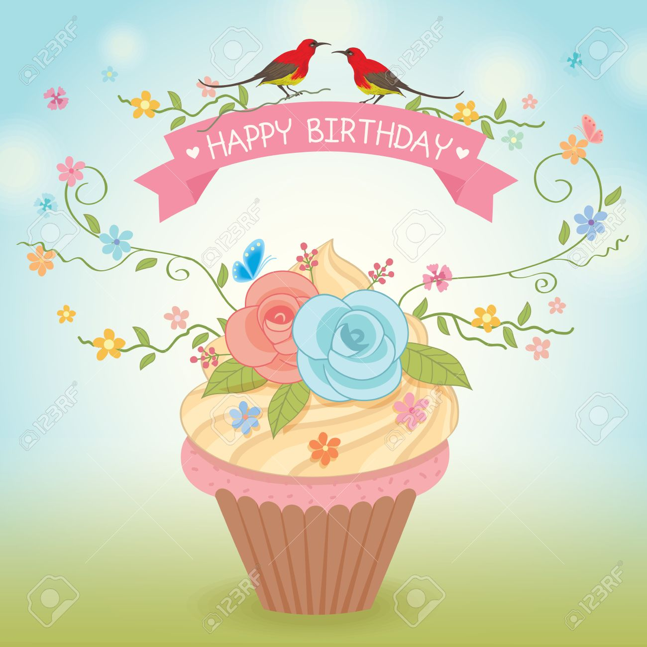 Sweet Cupcake Decoration With Flowers And Couple Birds For Happy Birthday Vector CardNature Background