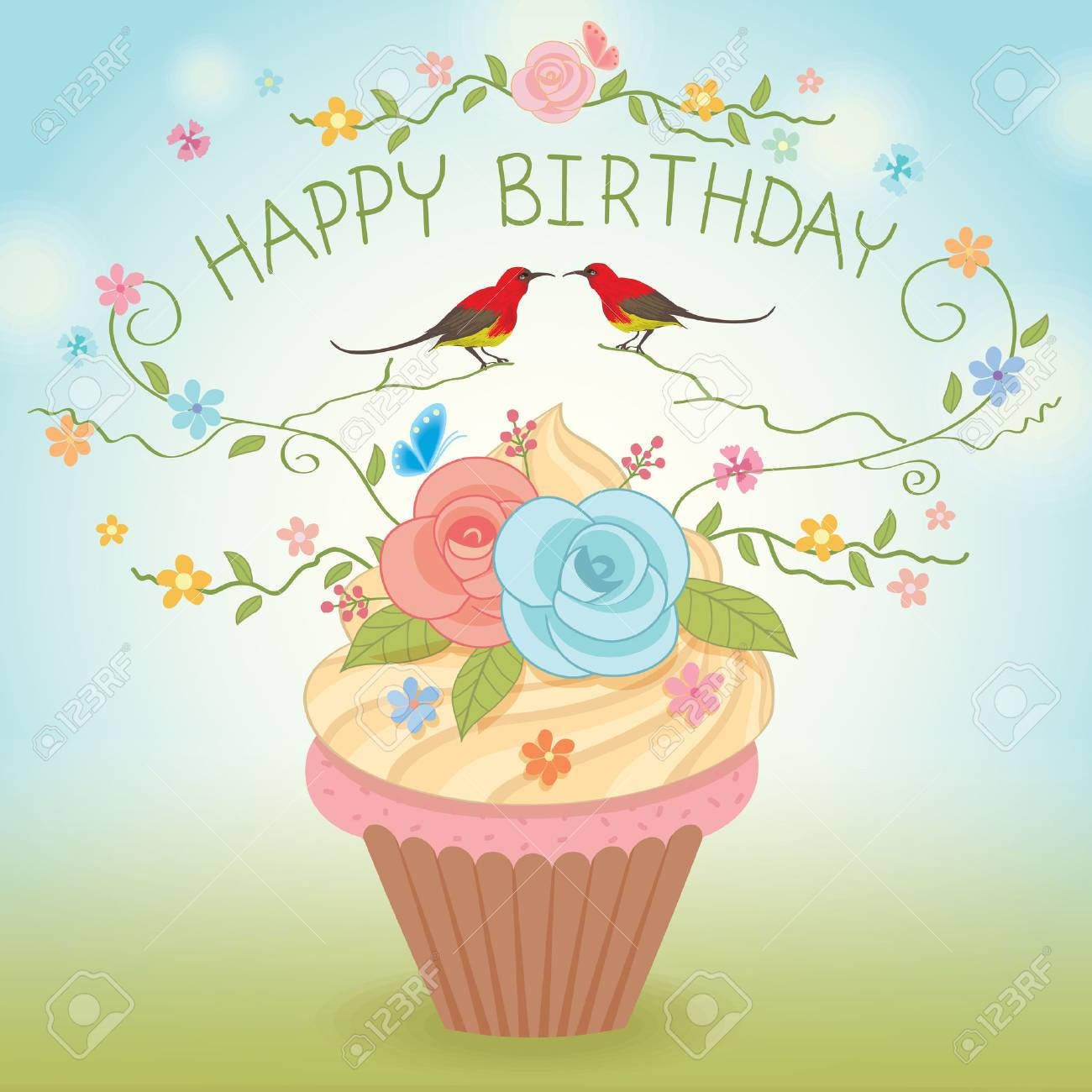 Sweet Vector Cupcake Decoration With Flowers And Couple Birds For Happy Birthday CardNatrue Background