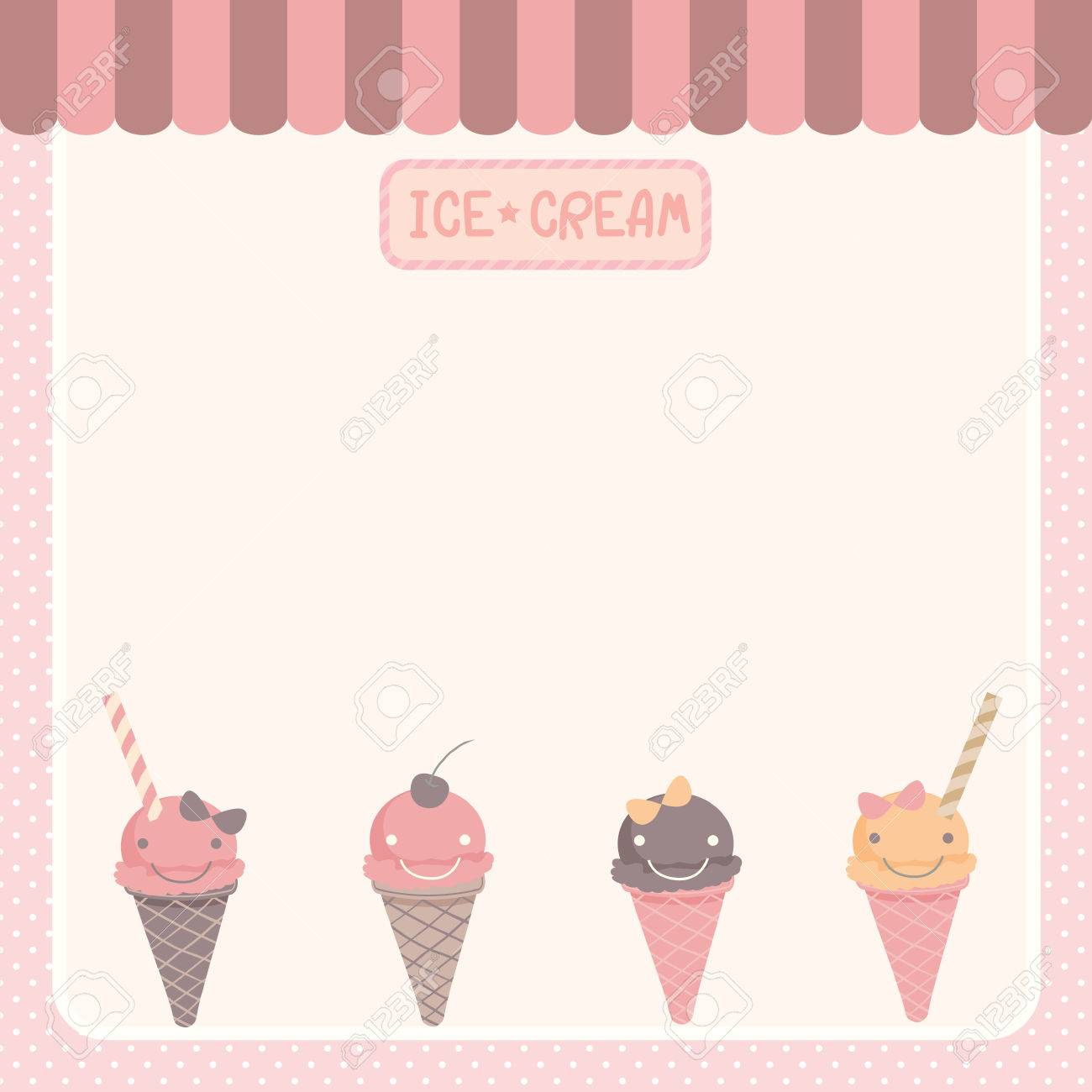 illustration vector of cute ice cream various flavors blank
