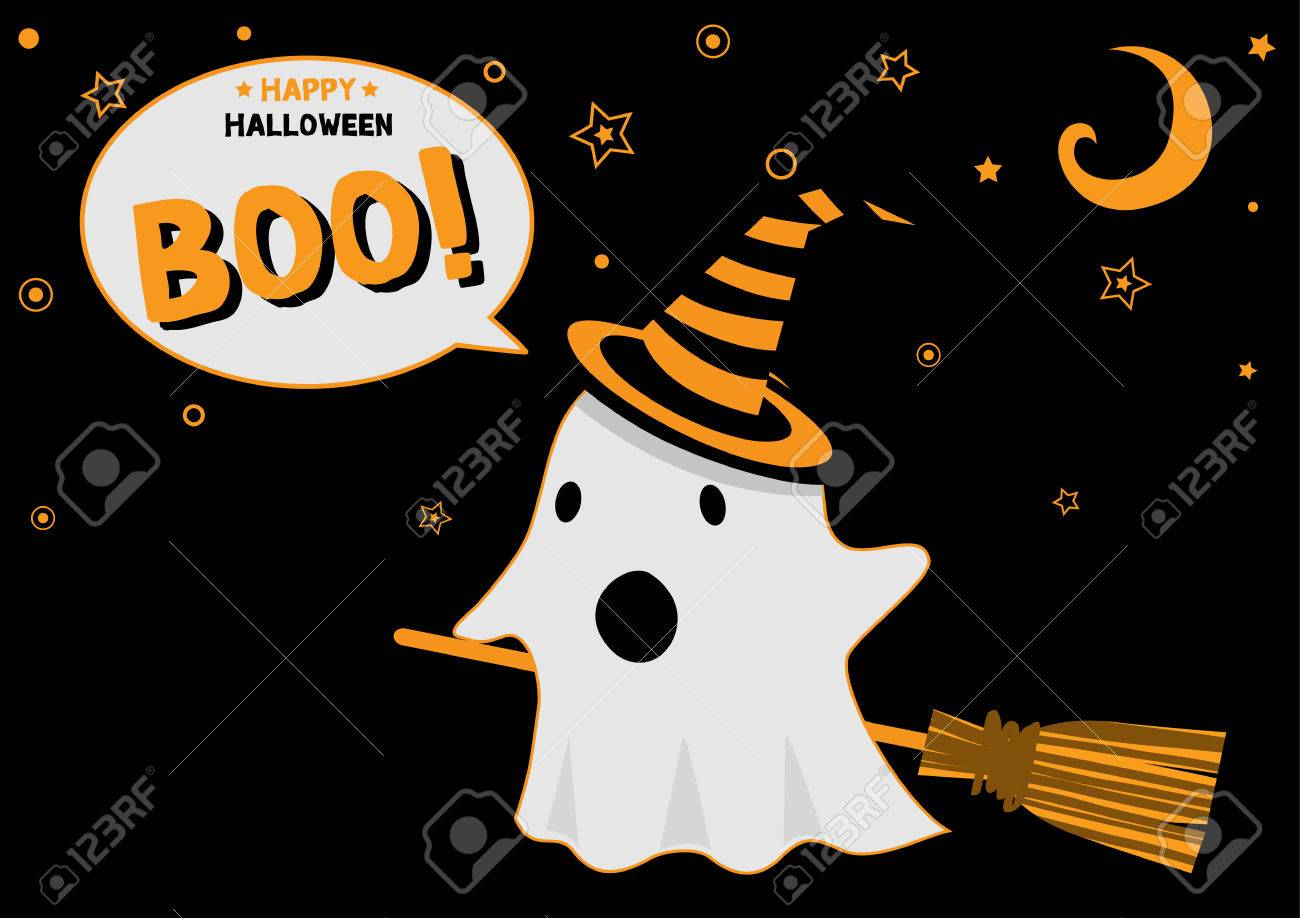Illustration Vector Little Cute Ghost Get Dress To Witch Flying In The Sky  At Halloween Night