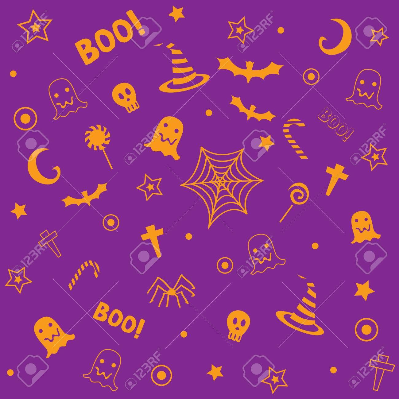 オレンジとバイオレット 壁紙のシームレスなパターンにシンボル デザイン ハロウィン紫 マゼンタの背景色 のイラスト素材 ベクタ Image