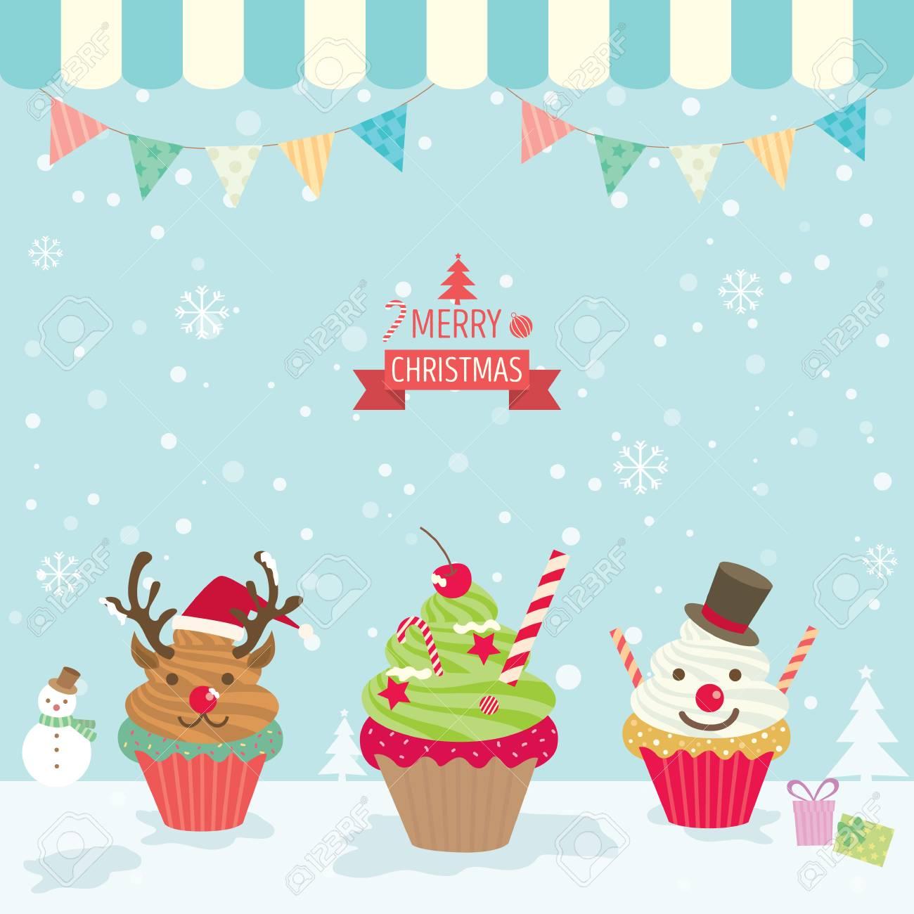 Illustration Vektor Merry Christmas Element Kleinen Kuchen Fur