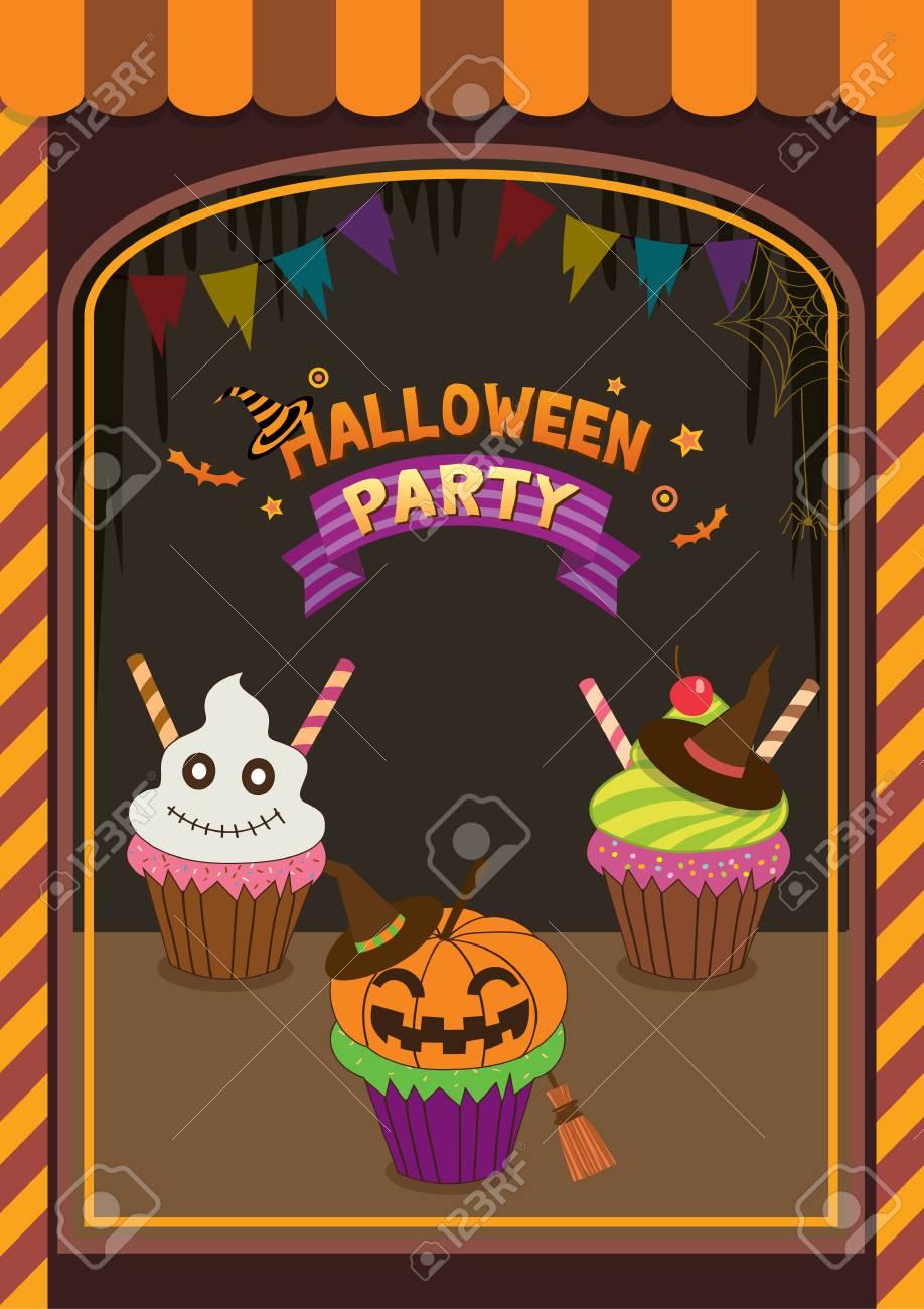 Illustration Vectorielle Decoration Vitrine Decoration De Cupcakes A