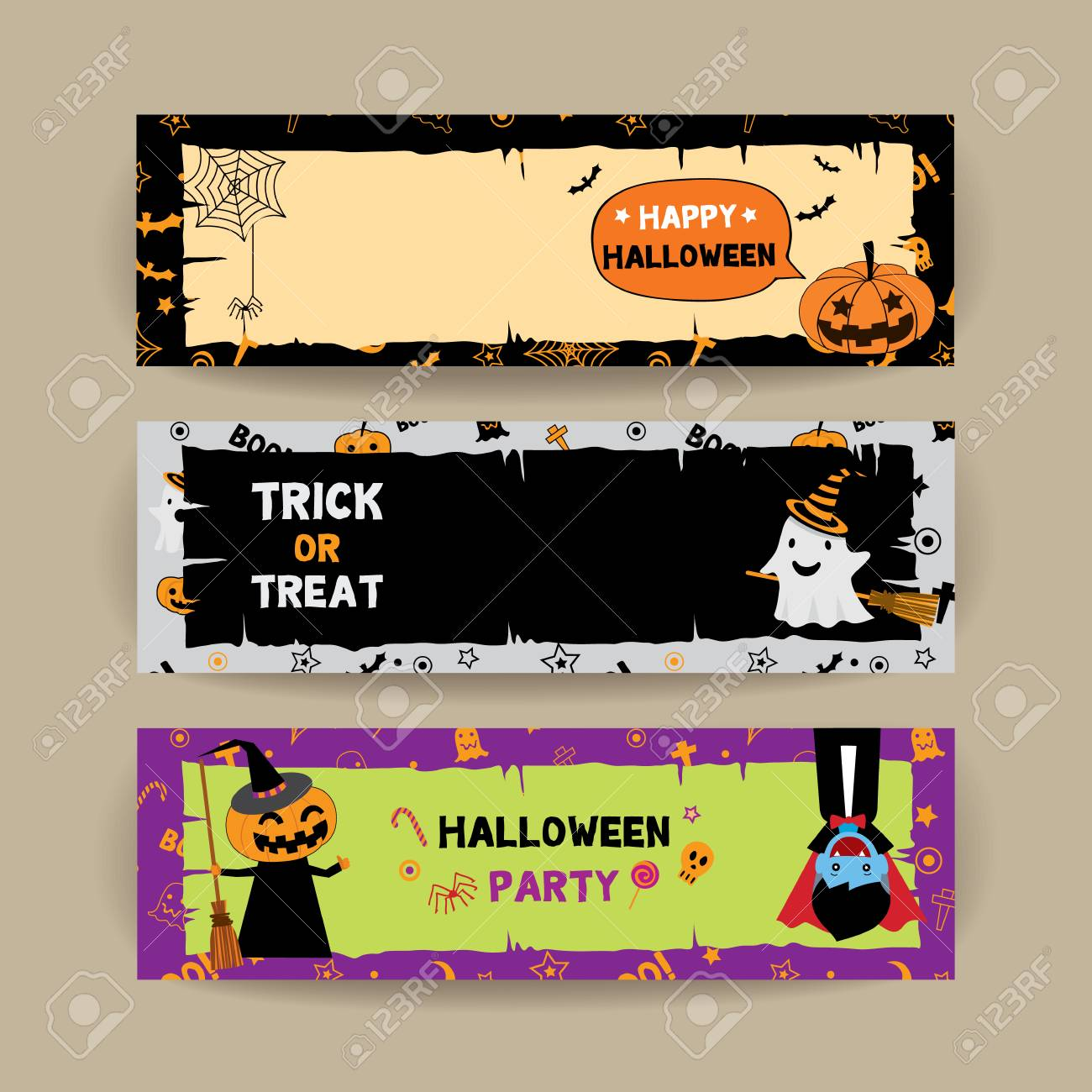 illustration vector banner set for happy halloween party template