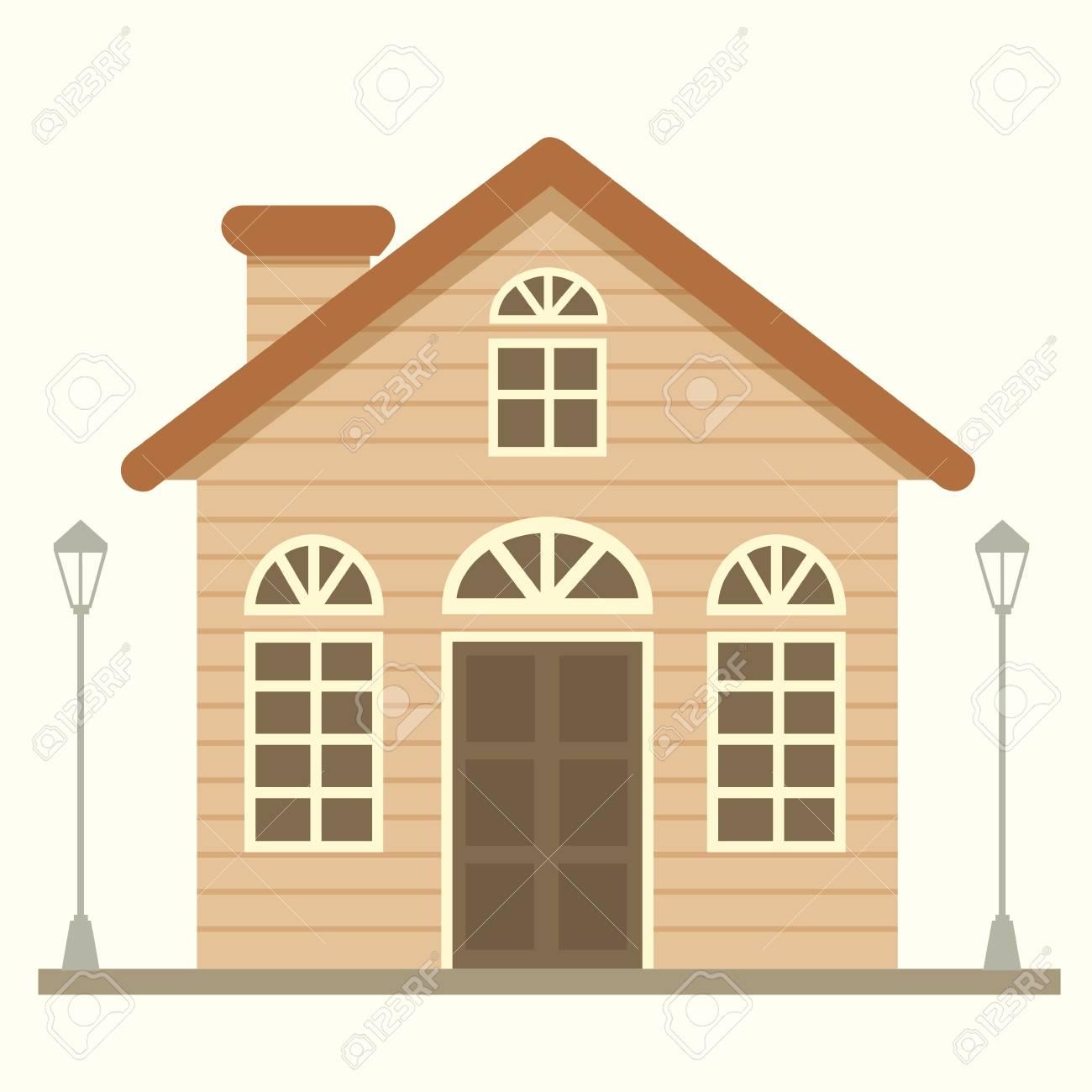孤立した背景にかわいい家のイラスト